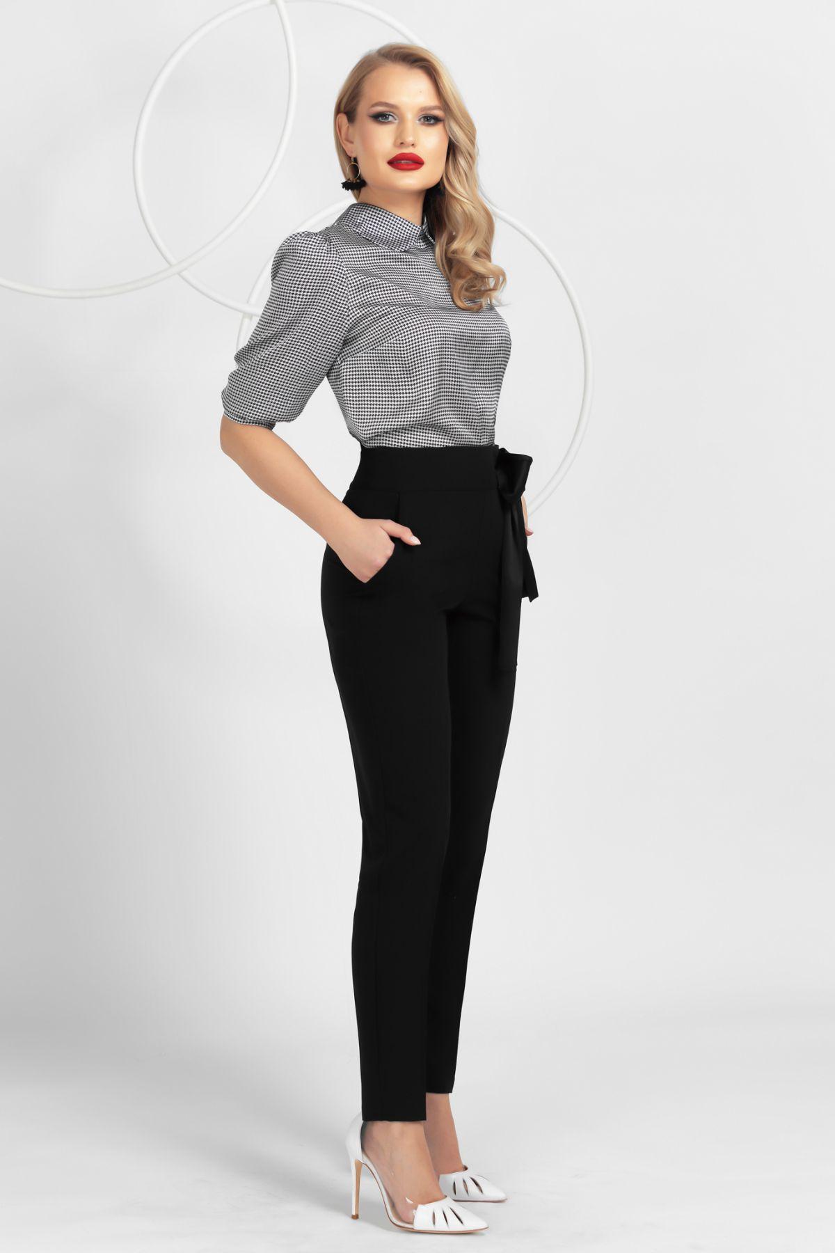 Pantaloni Pretty Girl negri conici cu funda neagra satinata
