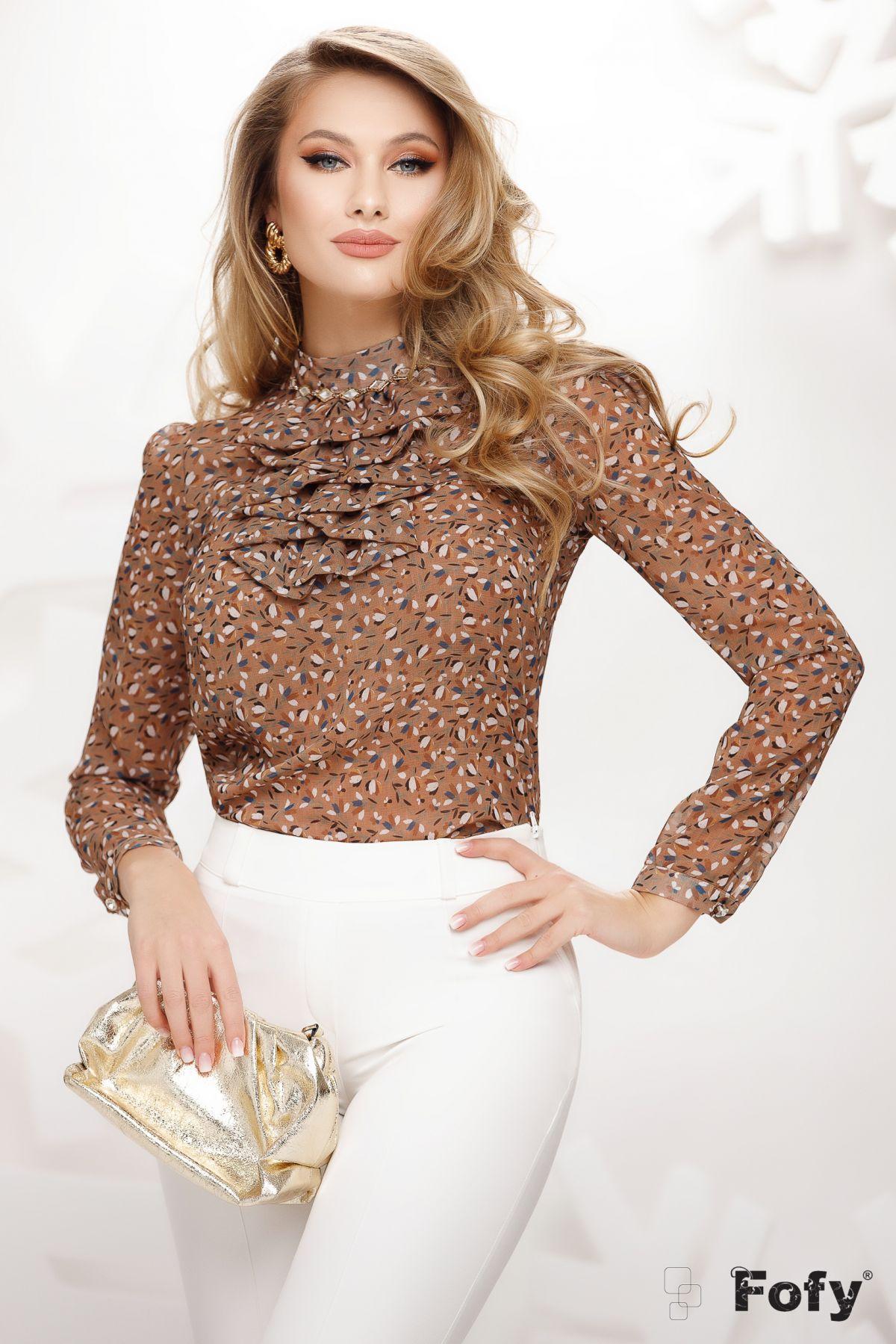 Bluza eleganta maron din voal cu imprimeu picatele si jabou cret