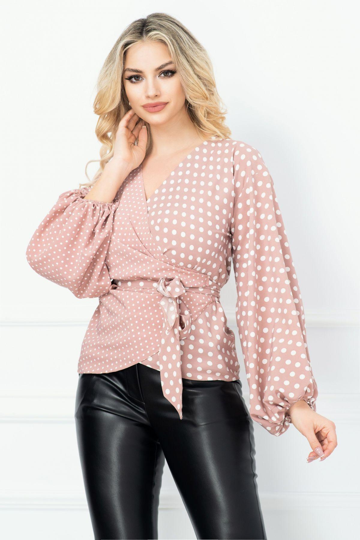 Bluza Effect roz prafuit din bumbac cu buline petrecuta