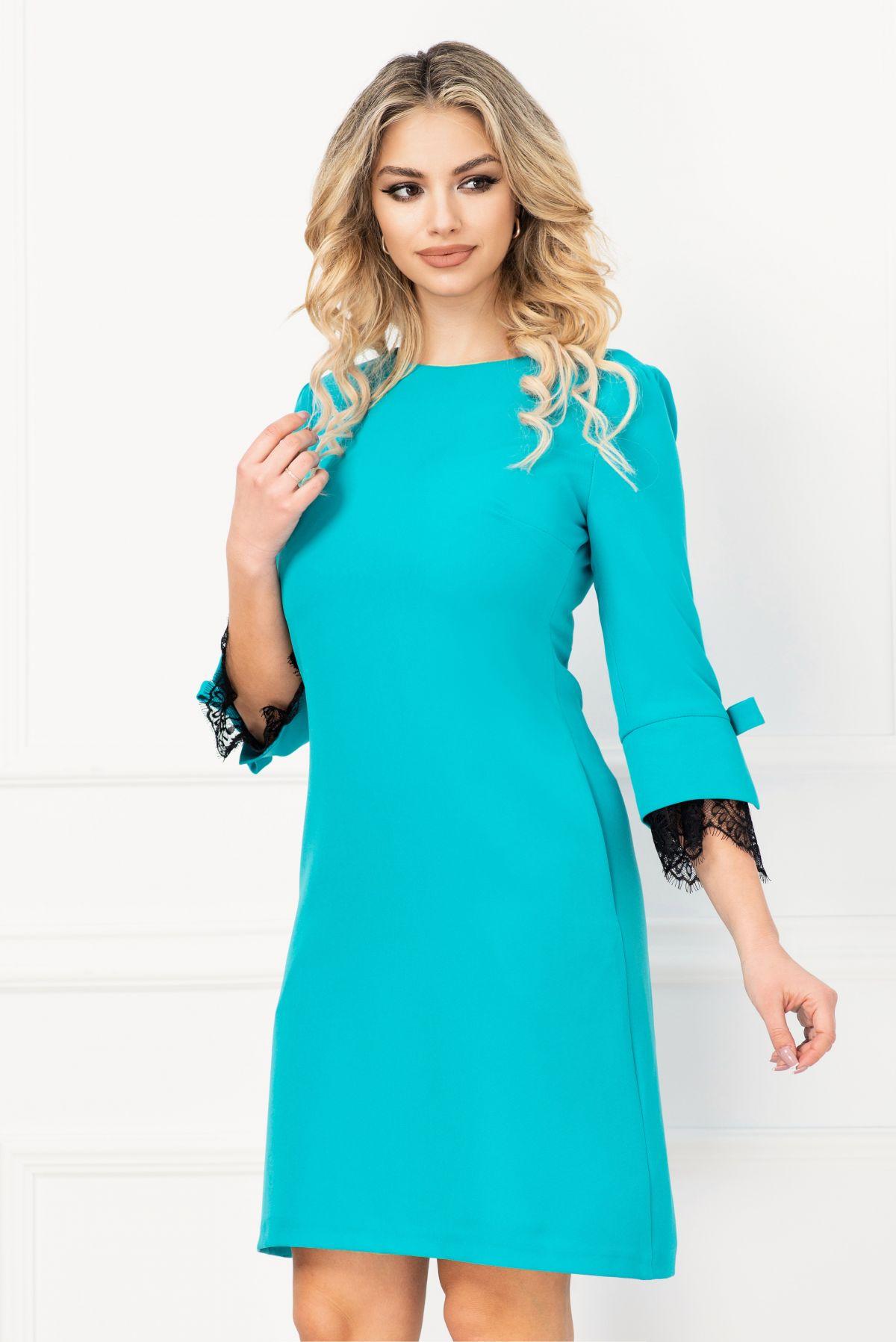 Rochie MBG turquoise cu insertii din dantela si funda stilizata