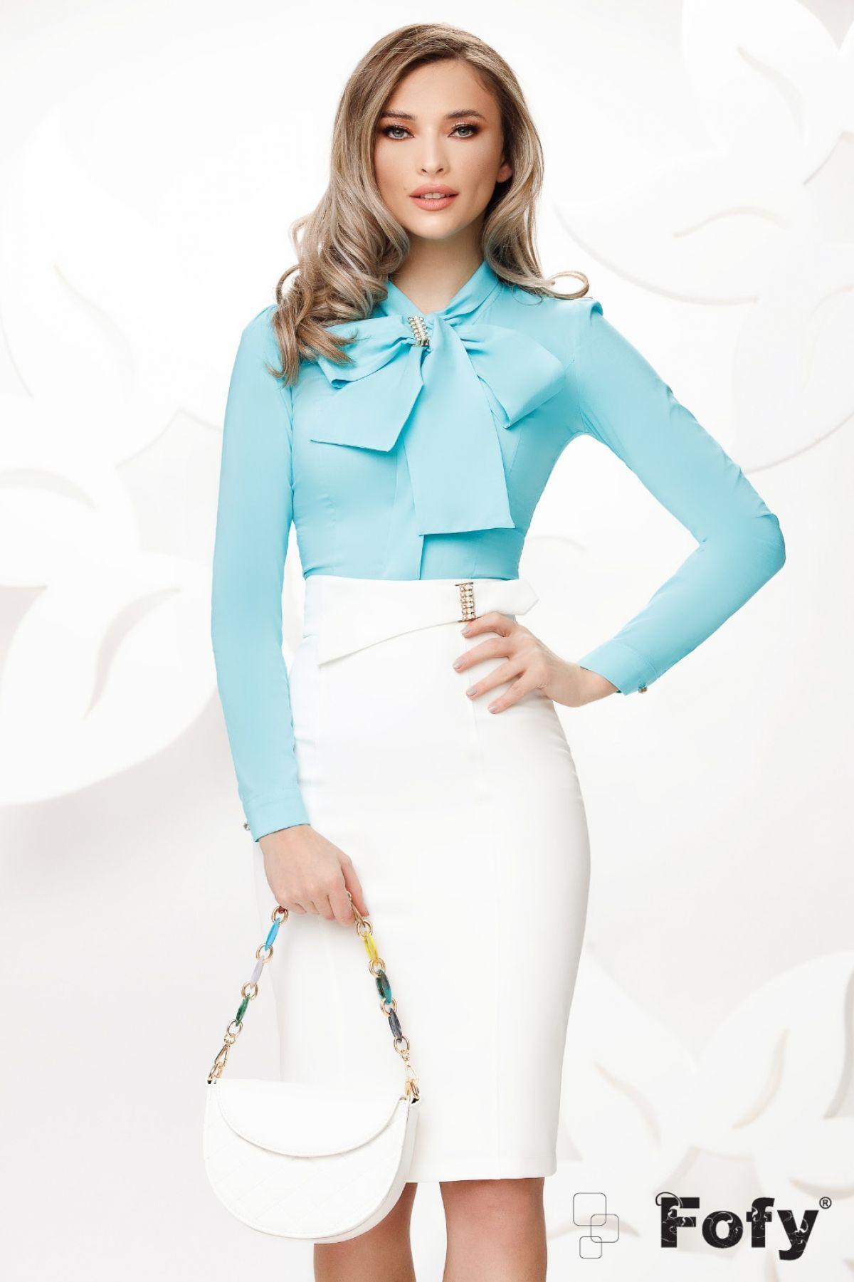 Camasa Fofy eleganta turquoise cu funda maxi si accesoriu tip brosa
