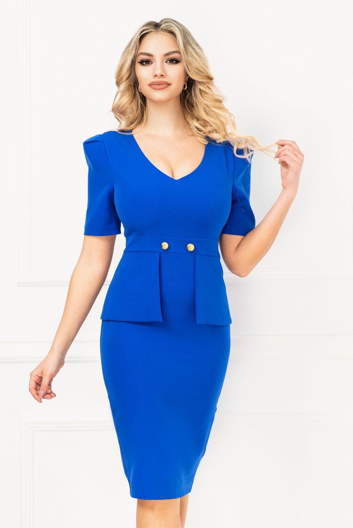Rochie InPuff office conica albastru royal cu peplum in talie