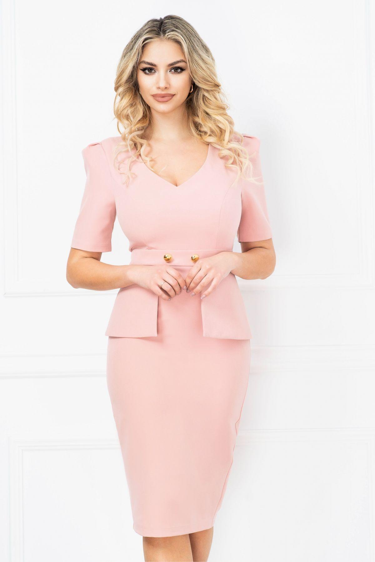 Rochie InPuff office conica roz pudrat cu peplum in talie si nasturi aurii