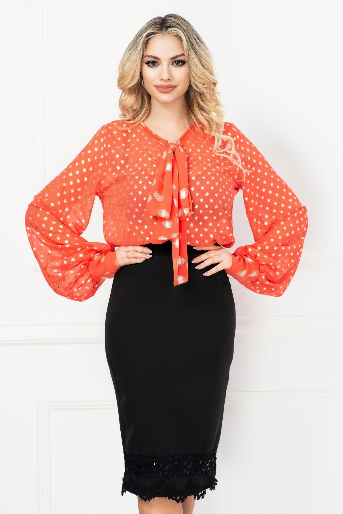 Bluza Venezia orange cu buline argintii si funda stilizata