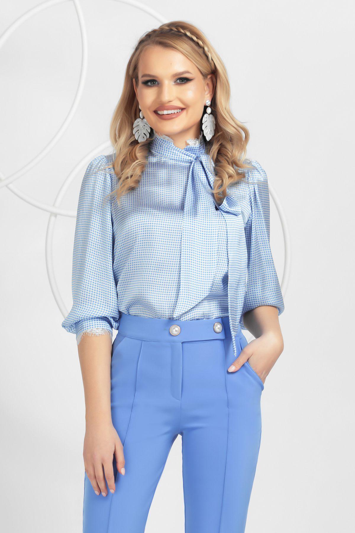 Bluza Pretty Girl bleu cu esarfa detasabila si imprimeu pied du coq