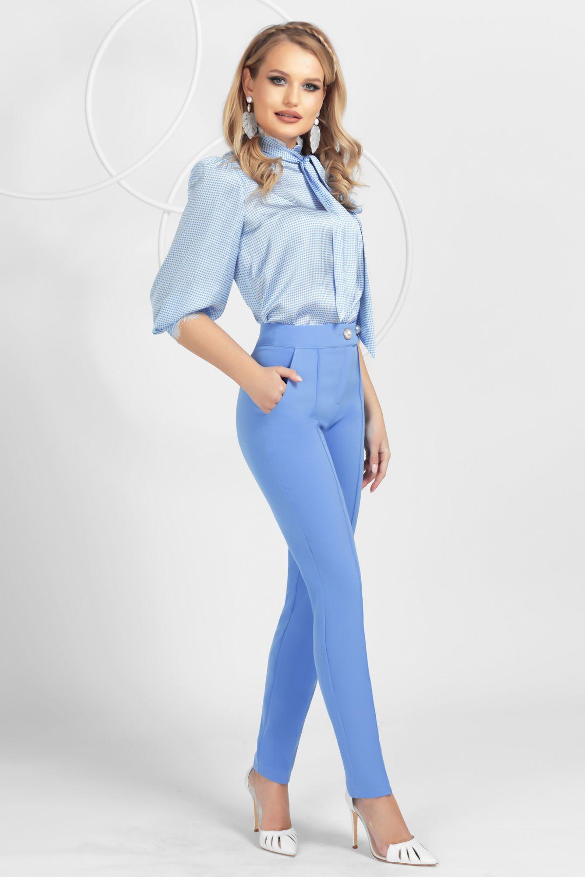 Pantaloni Pretty Girl office bleu cu nasturi tip perla si nervura