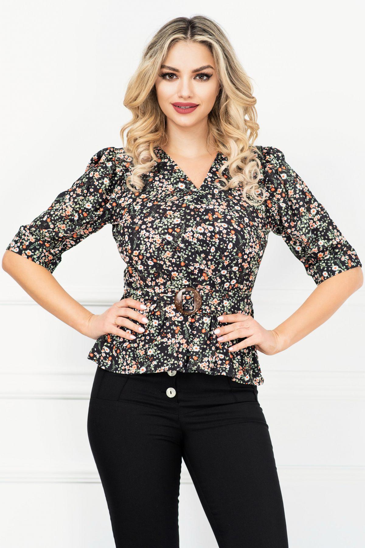 Bluza casual neagra cu peplum si floricele multicolore