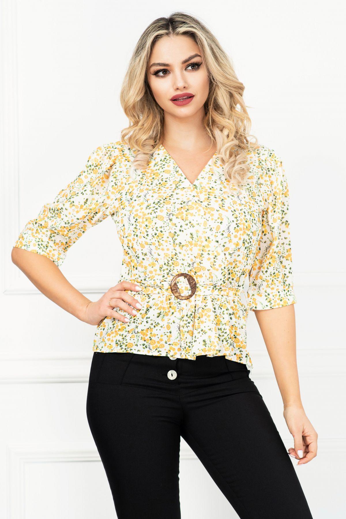 Bluza casual ecru cu peplum si floricele galbene
