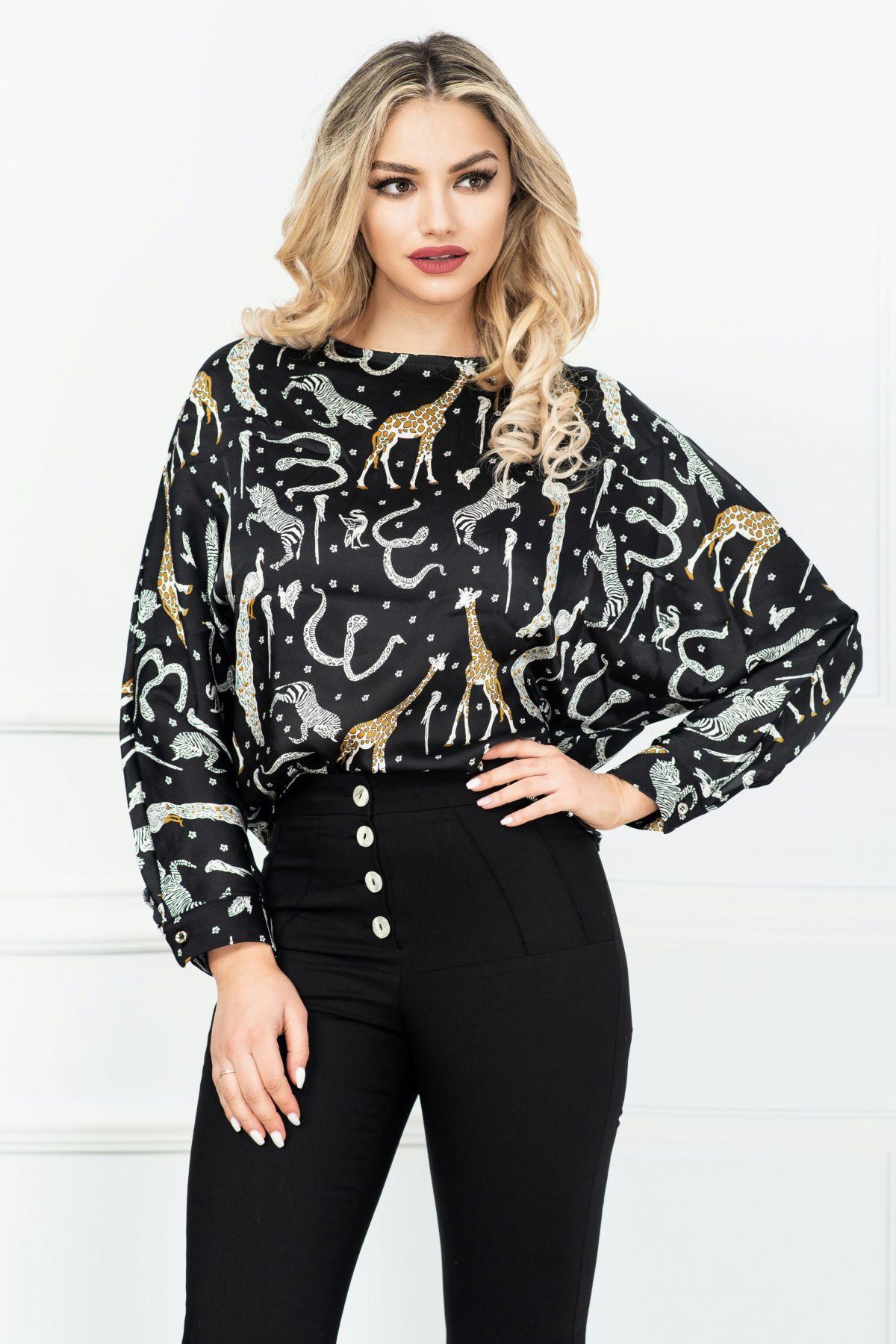 Bluza casual lejera neagra cu imprimeu jungle