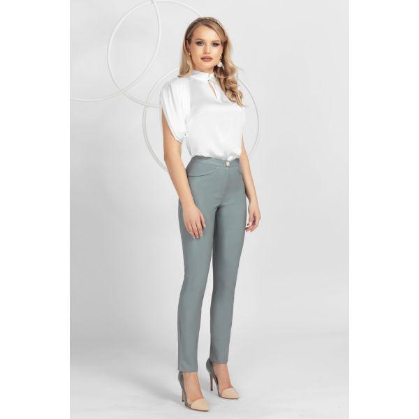 Pantaloni Pretty Girl gri din piele ecologica cu talie medie