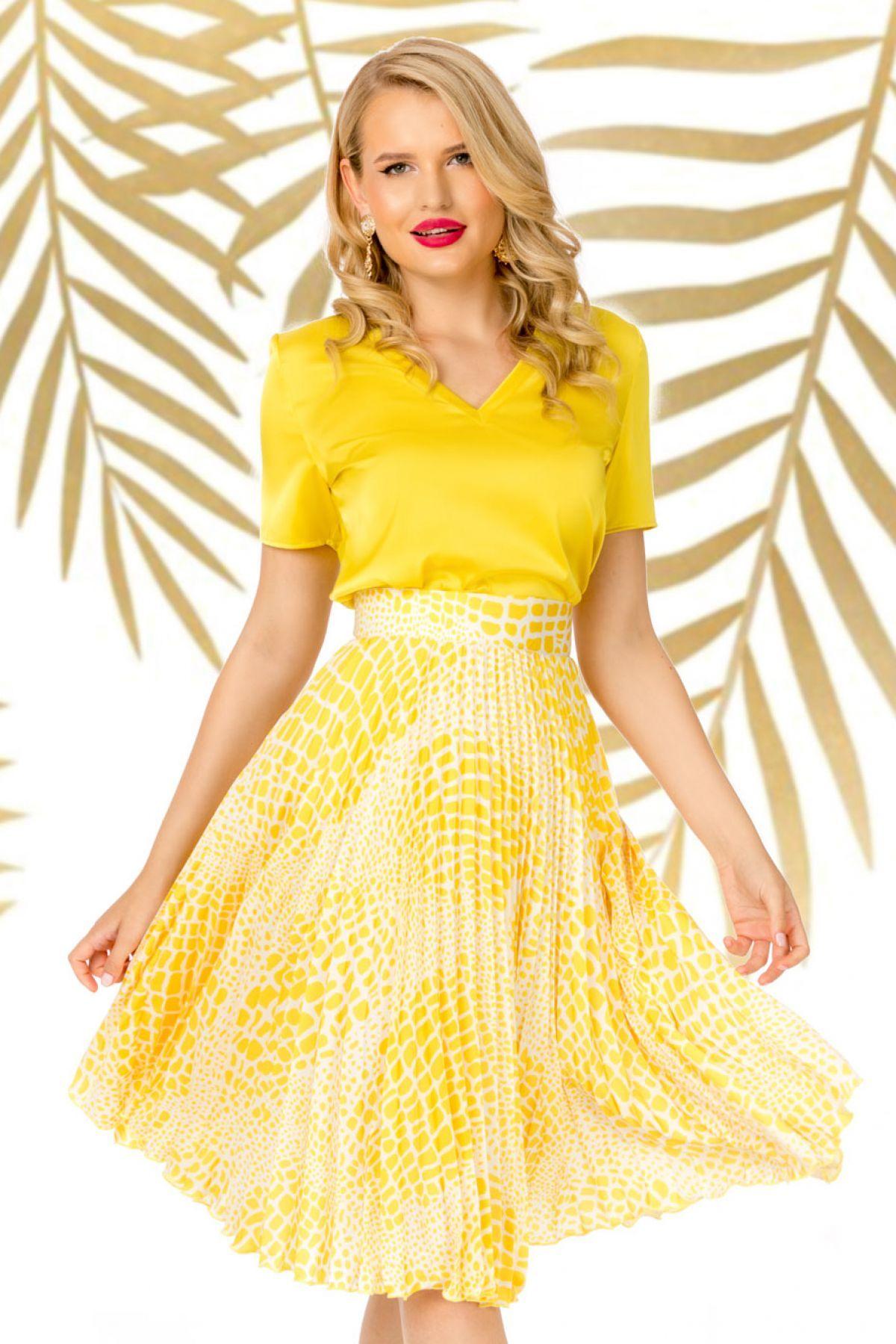 Fusta Pretty Girl plisata cu imprimeu galben tip sarpe