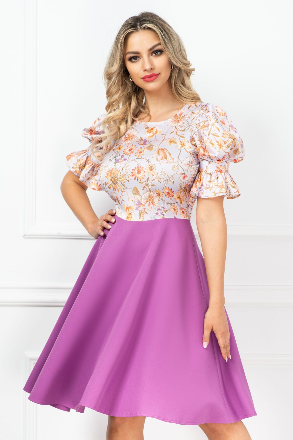 Rochie InPuff eleganta de zi lila cu maneci bufante