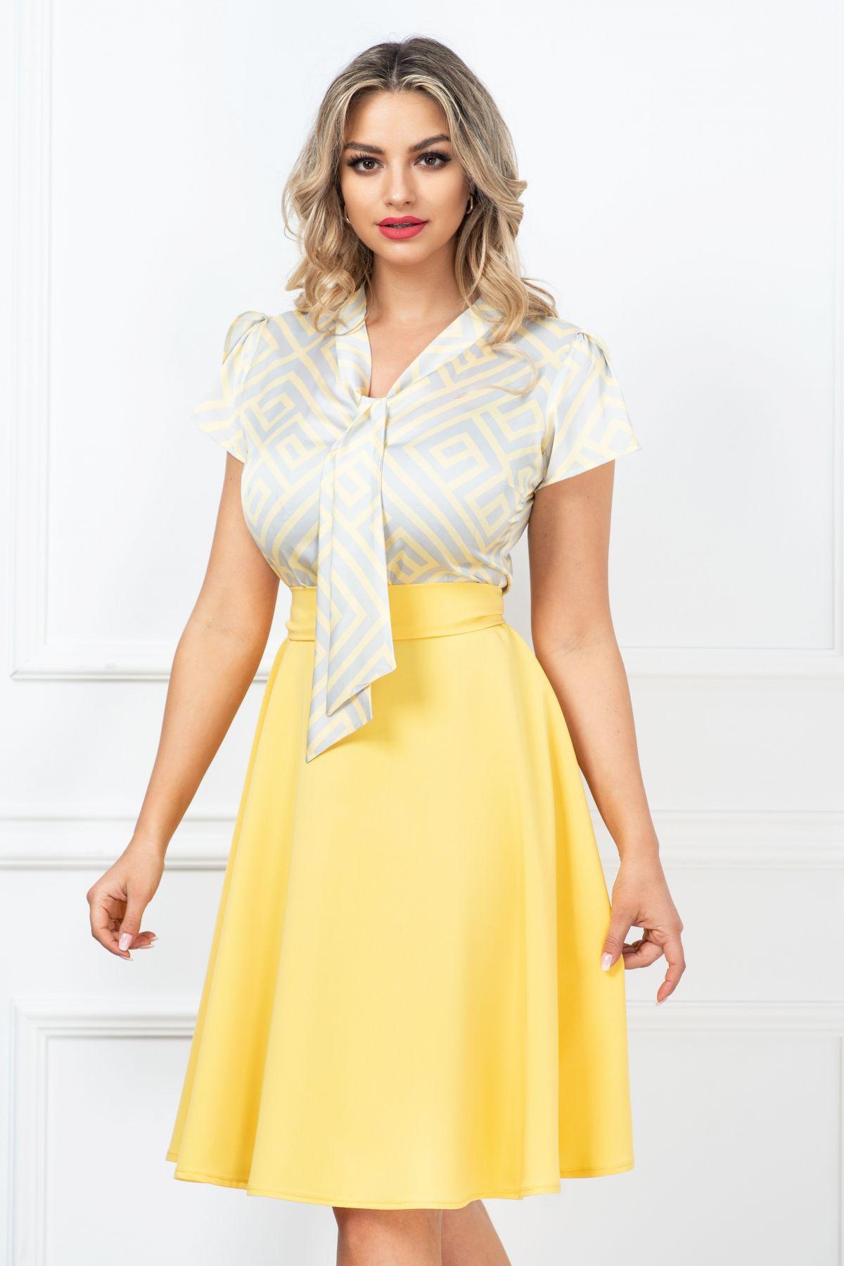 Rochie eleganta InPuff de zi in clos cu imprimeu