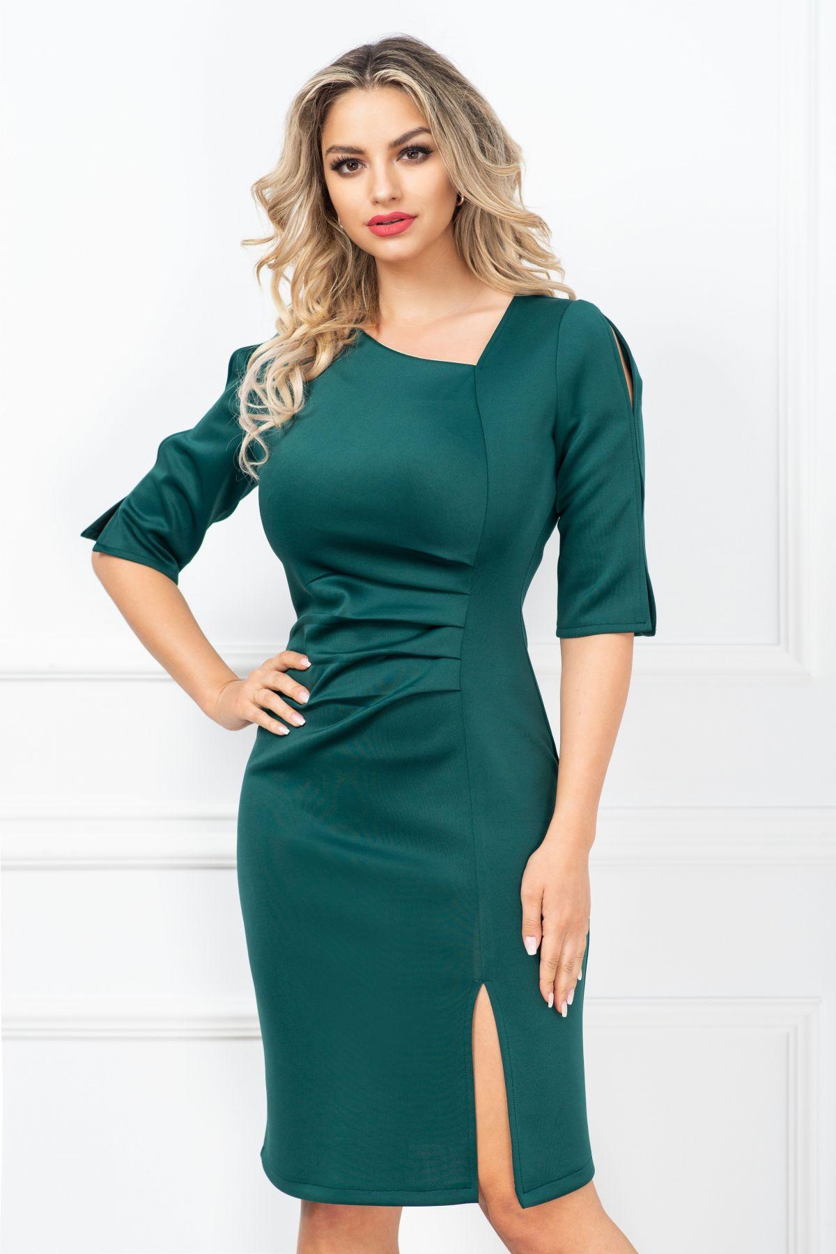 Rochie eleganta Aurora conica verde cu fronseuri