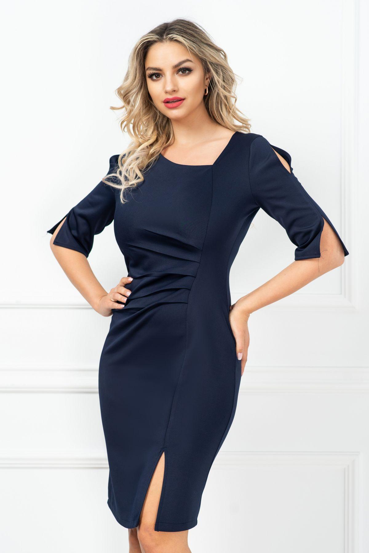Rochie eleganta Aurora conica bleumarin cu fronseuri