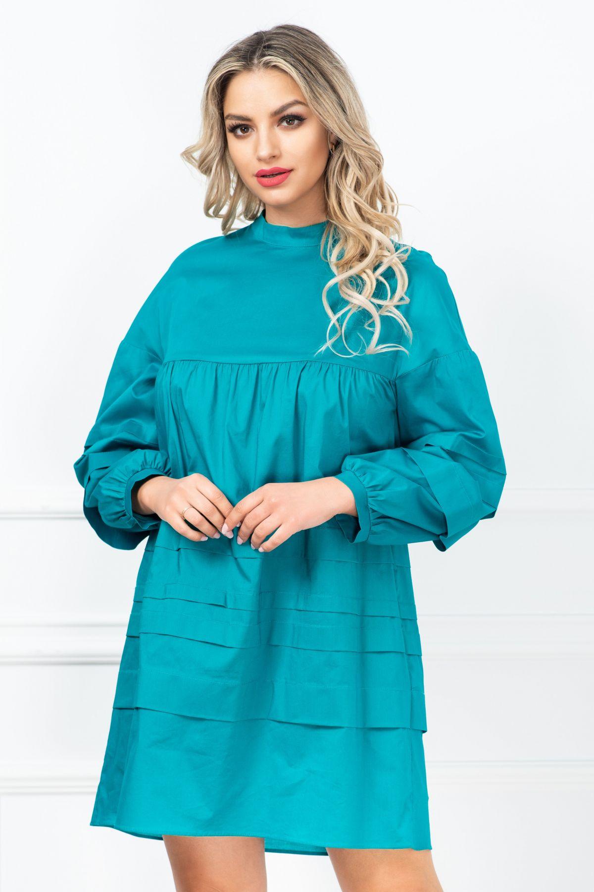 Rochie Xara de zi lejera turquoise din bumbac
