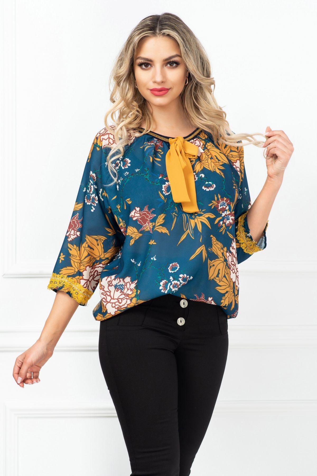Bluza dama Venezia lejera cu imprimeu floral si funda mustar