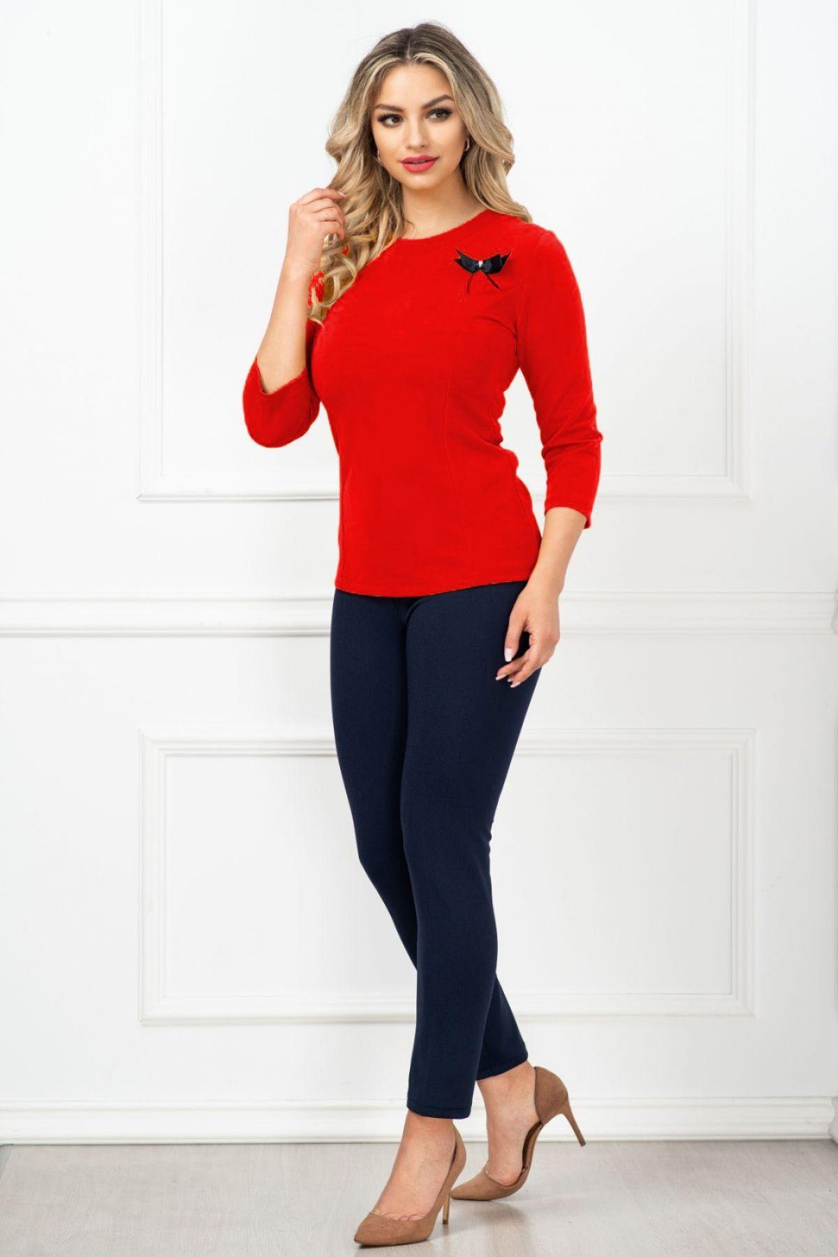 Compleu dama elegant Maria cu bluza rosie si fundita By InPuff