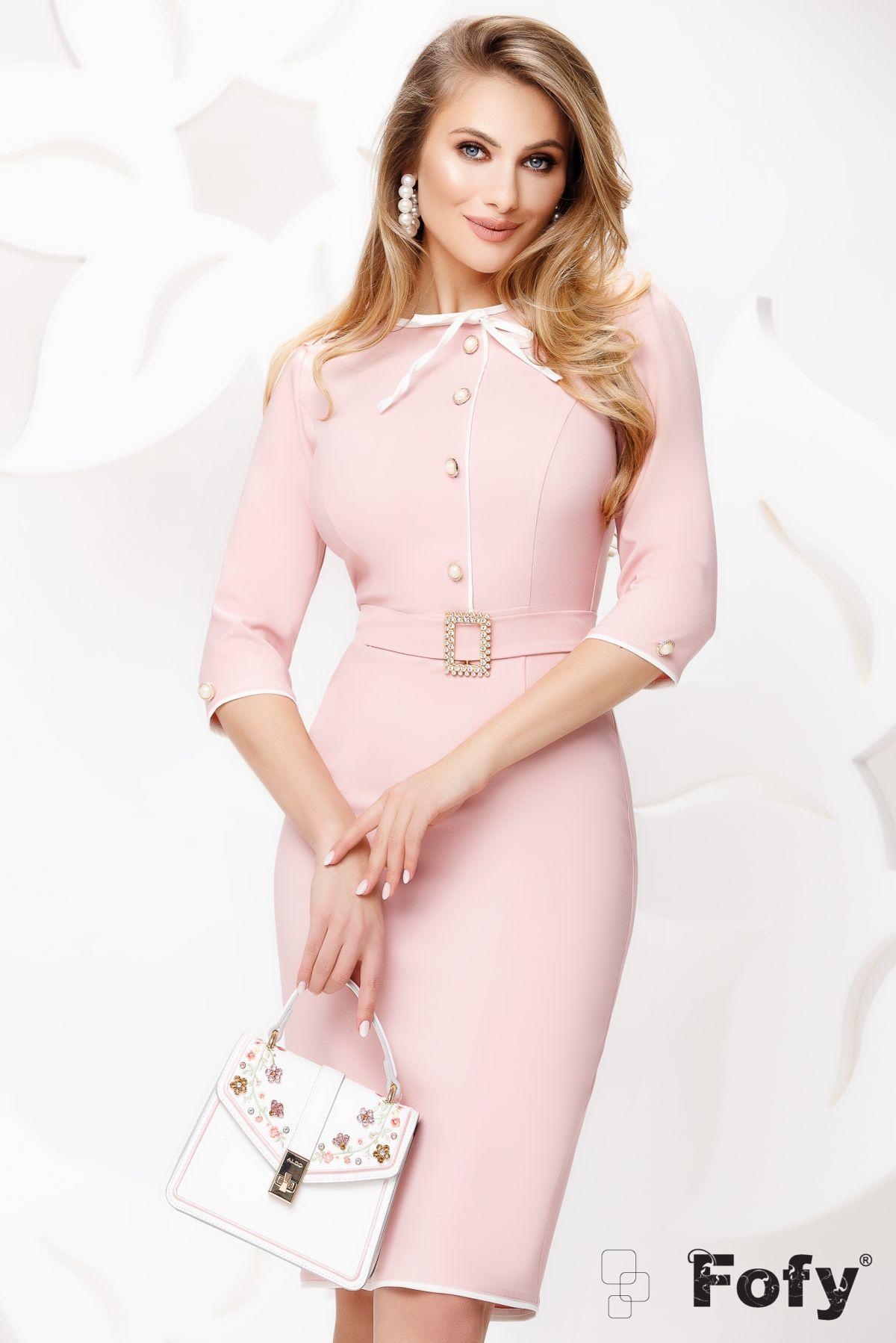 Rochie Fofy conica office rose cu nasturi pretiosi si fundita
