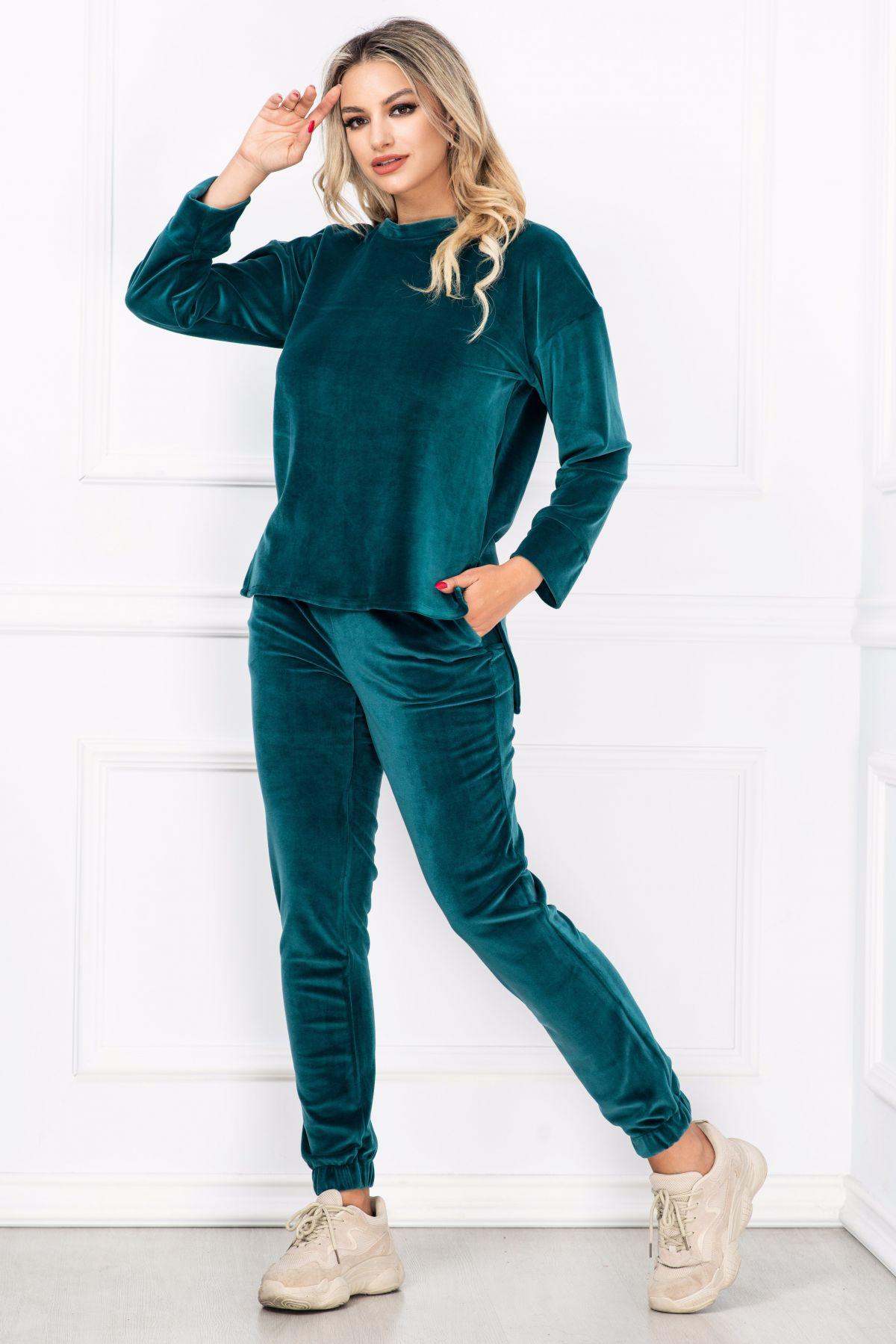 Trening dama din catifea Amelia verde smarald asimetric By InPuff