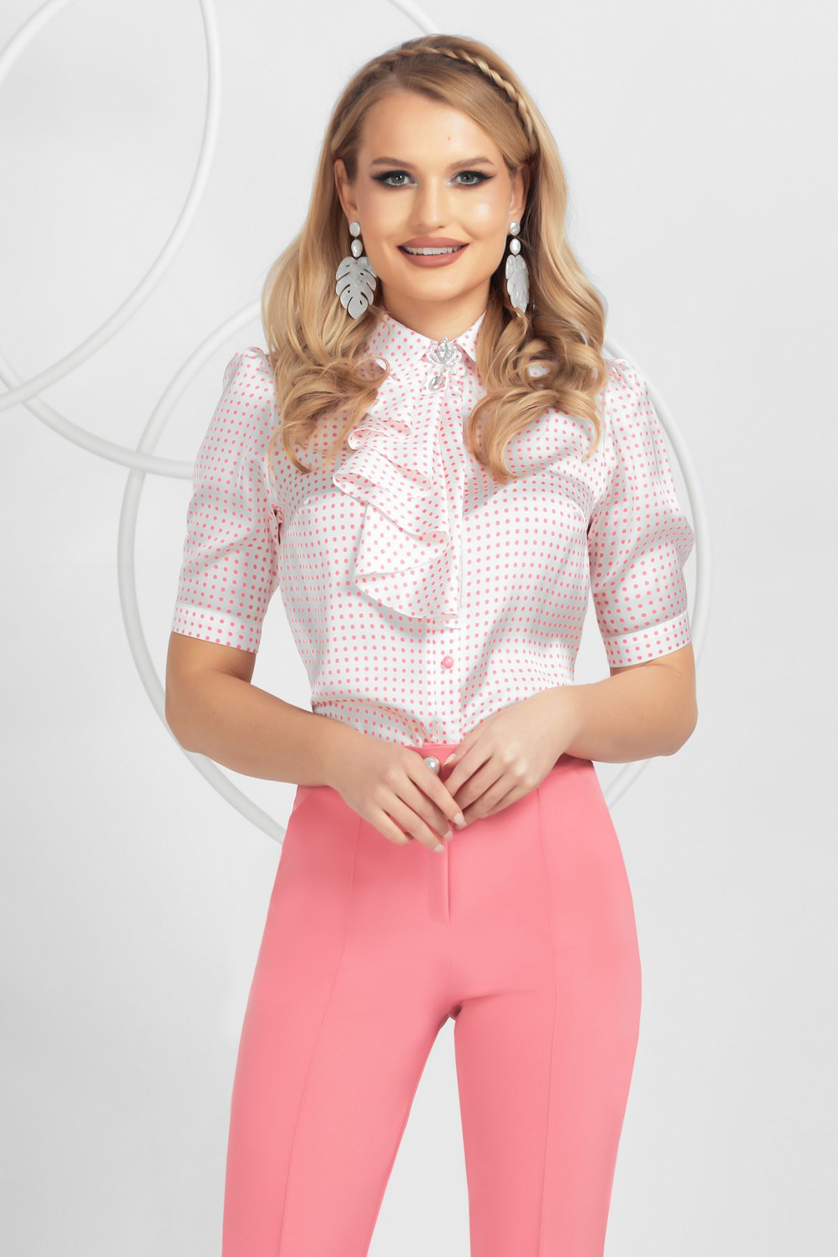Camasa eleganta Pretty Girl satinata cu jabou si buline roz
