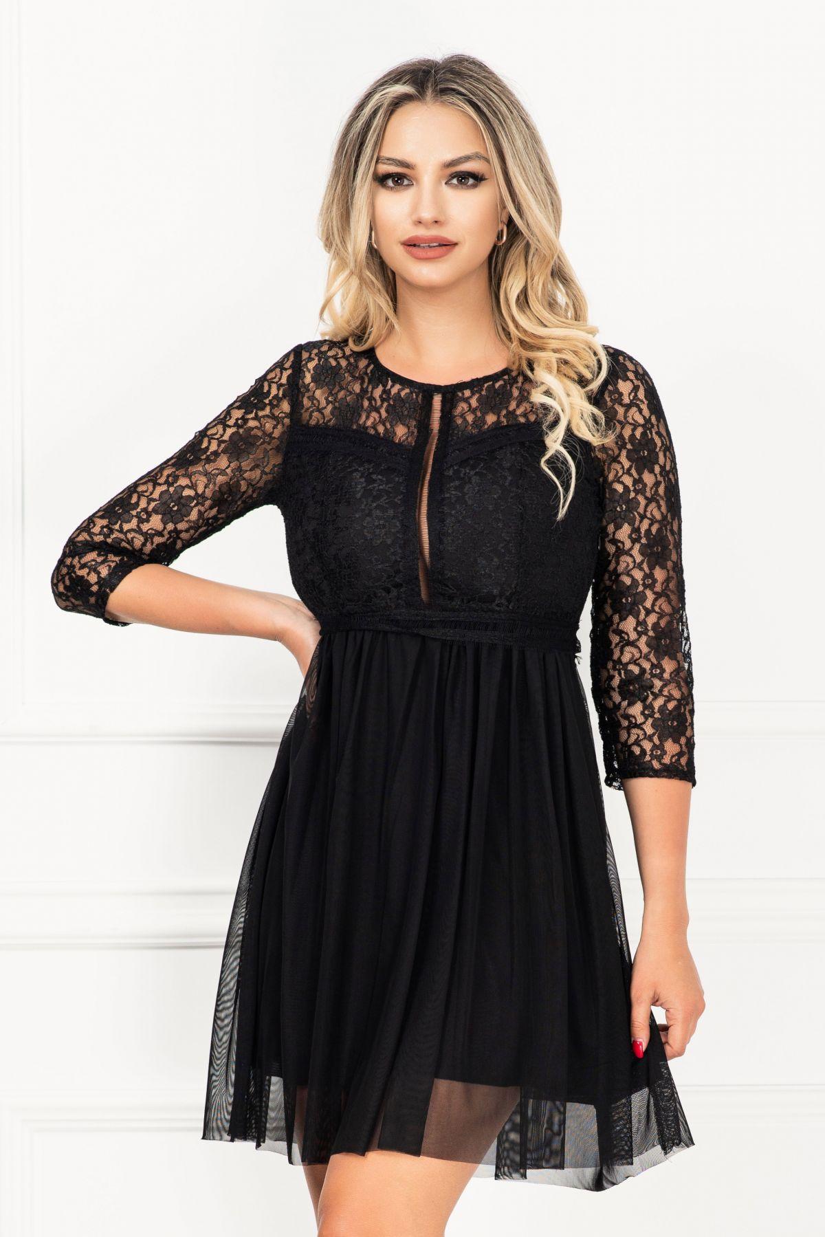 Rochie de ocazie mini in clos din dantela si tul negru