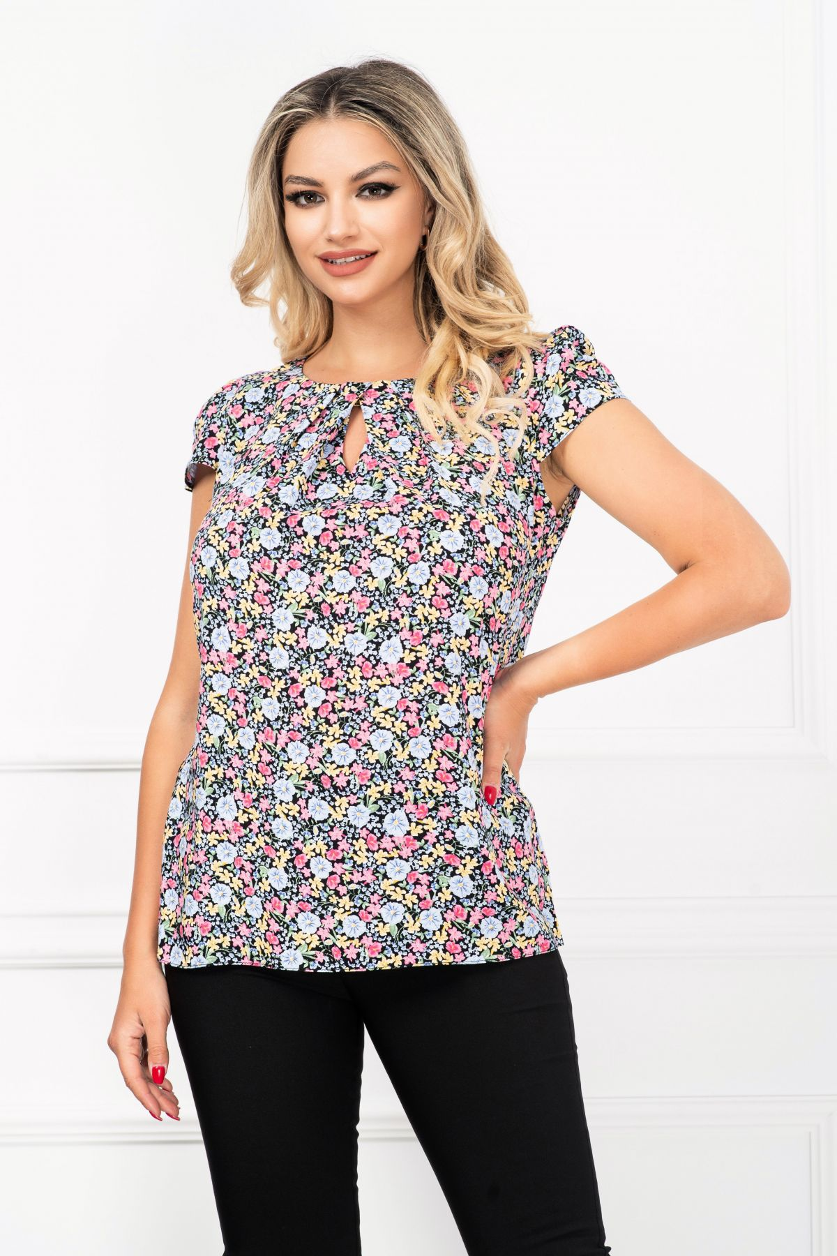 Bluza de vara lejera cu imprimeu flori multicolore