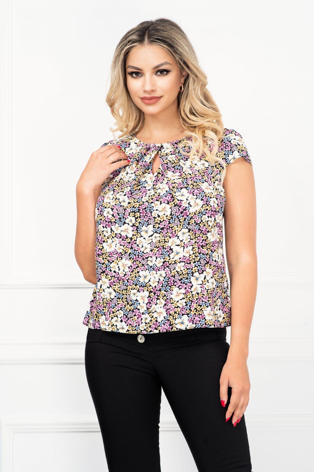 Bluza de vara lejera cu imprimeu bogat flori galbene si lila
