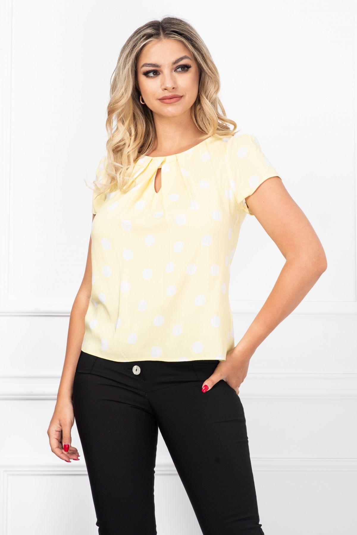 Bluza de vara galbena lejera cu imprimeu buline albe