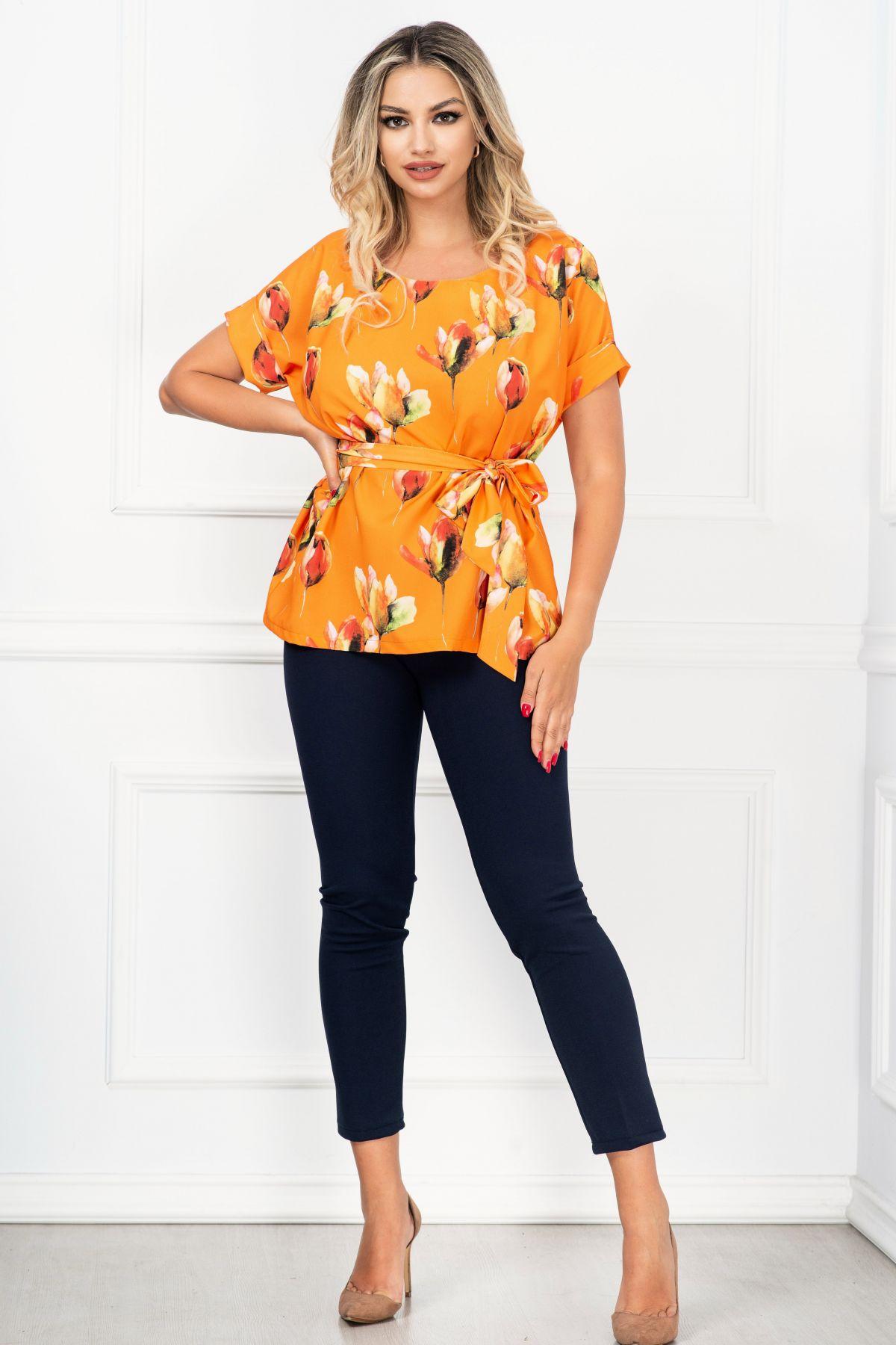 Compleu dama de vara lejer cu bluza orange si print lalele By InPuff