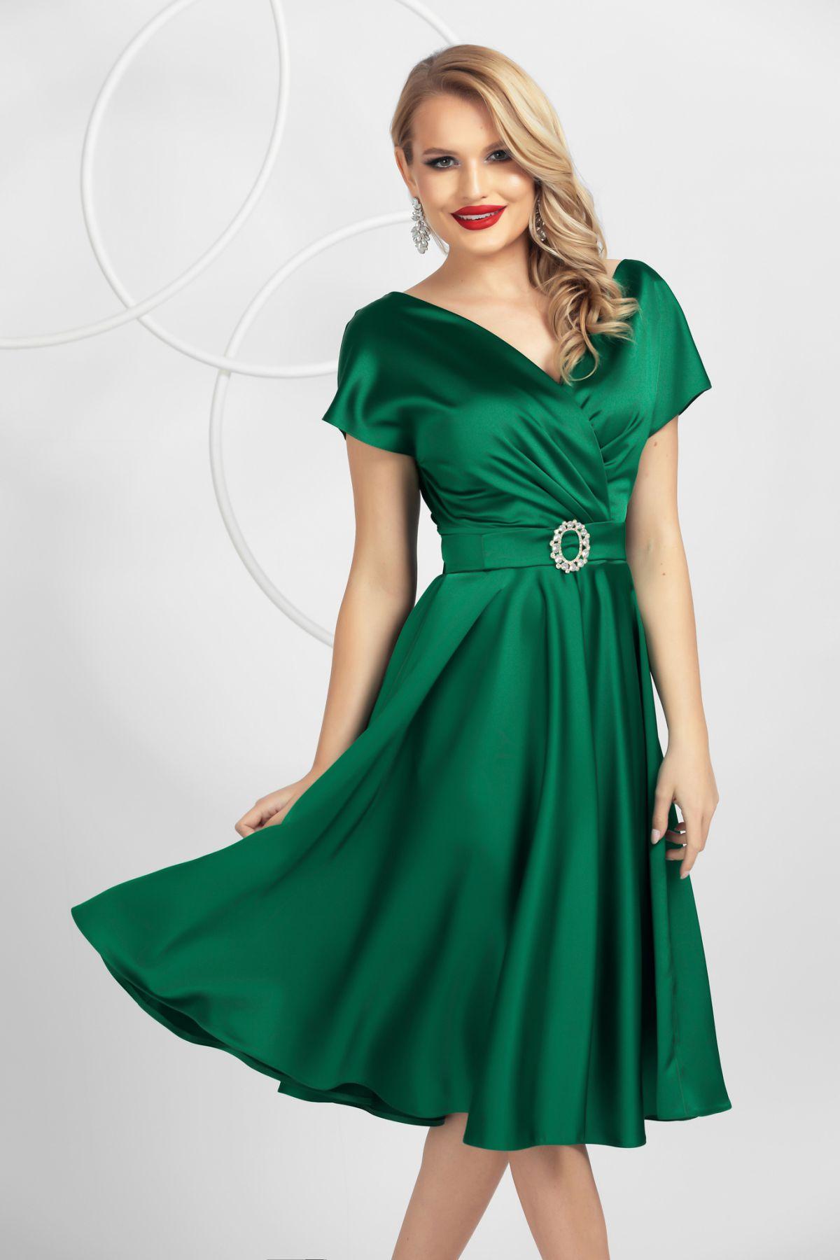 Rochie eleganta Pretty Girl de ocazie verde in clos din tafta