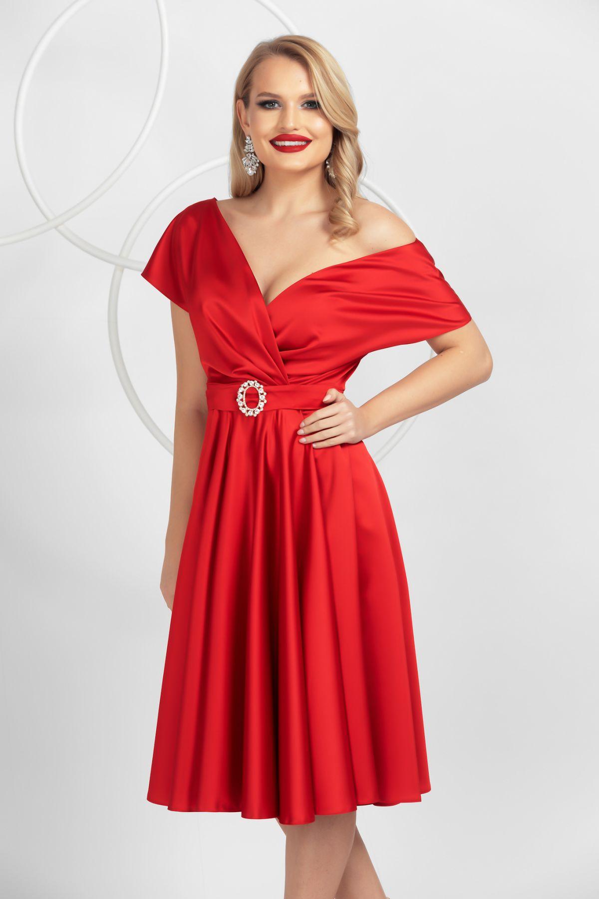 Rochie eleganta Pretty Girl rosie de ocazie in clos din tafta