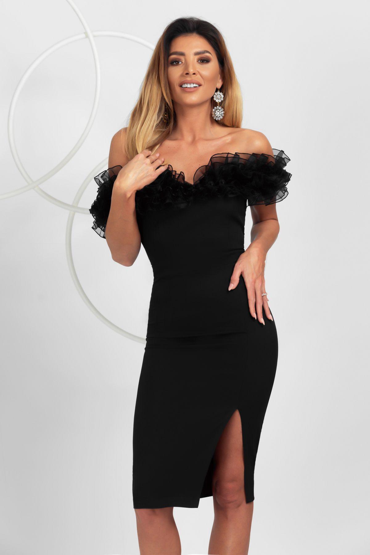 Rochie eleganta de ocazie Pretty Girl neagra cu umeri goi si volane