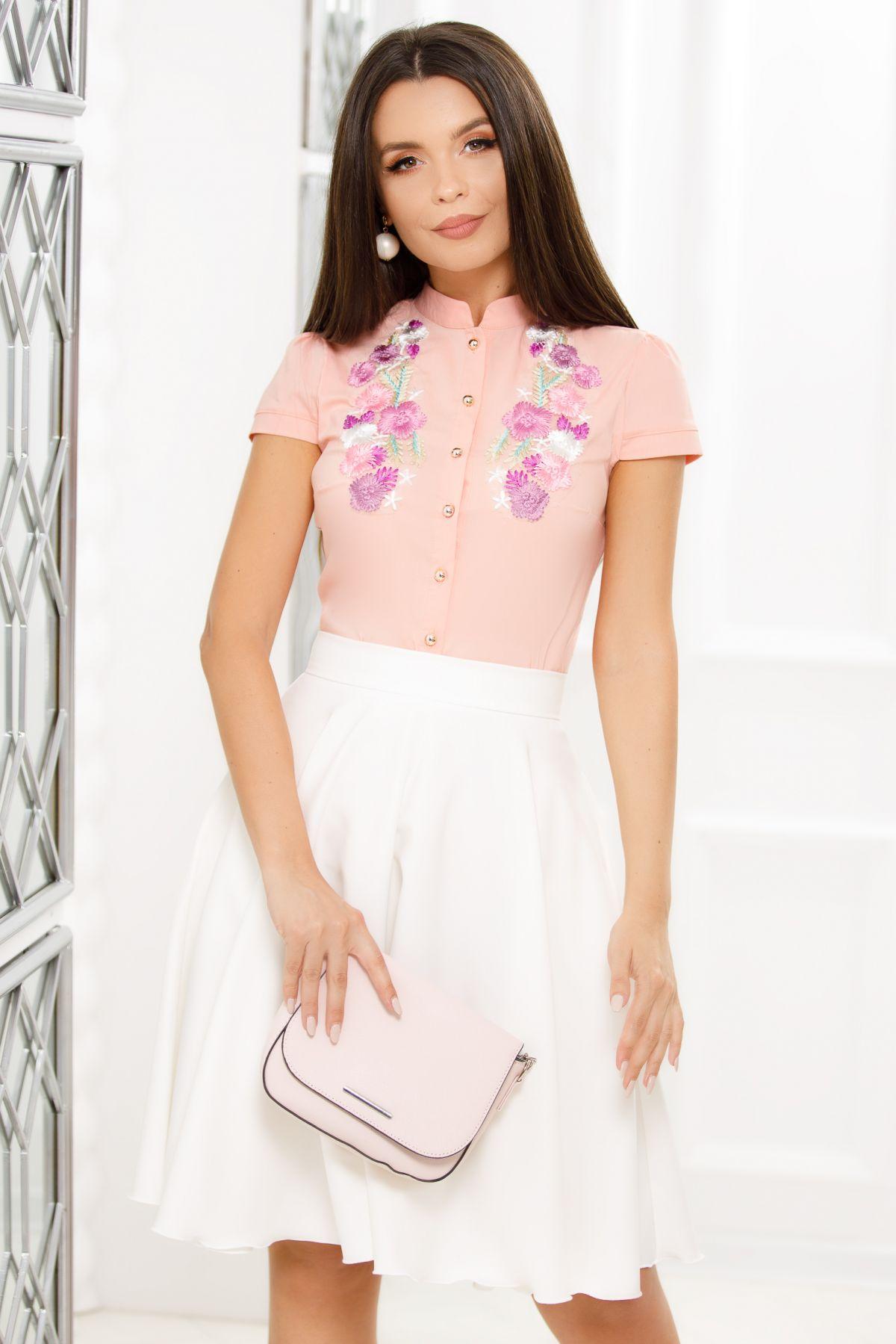 Camasa Fofy eleganta peach cu flori brodate colorate