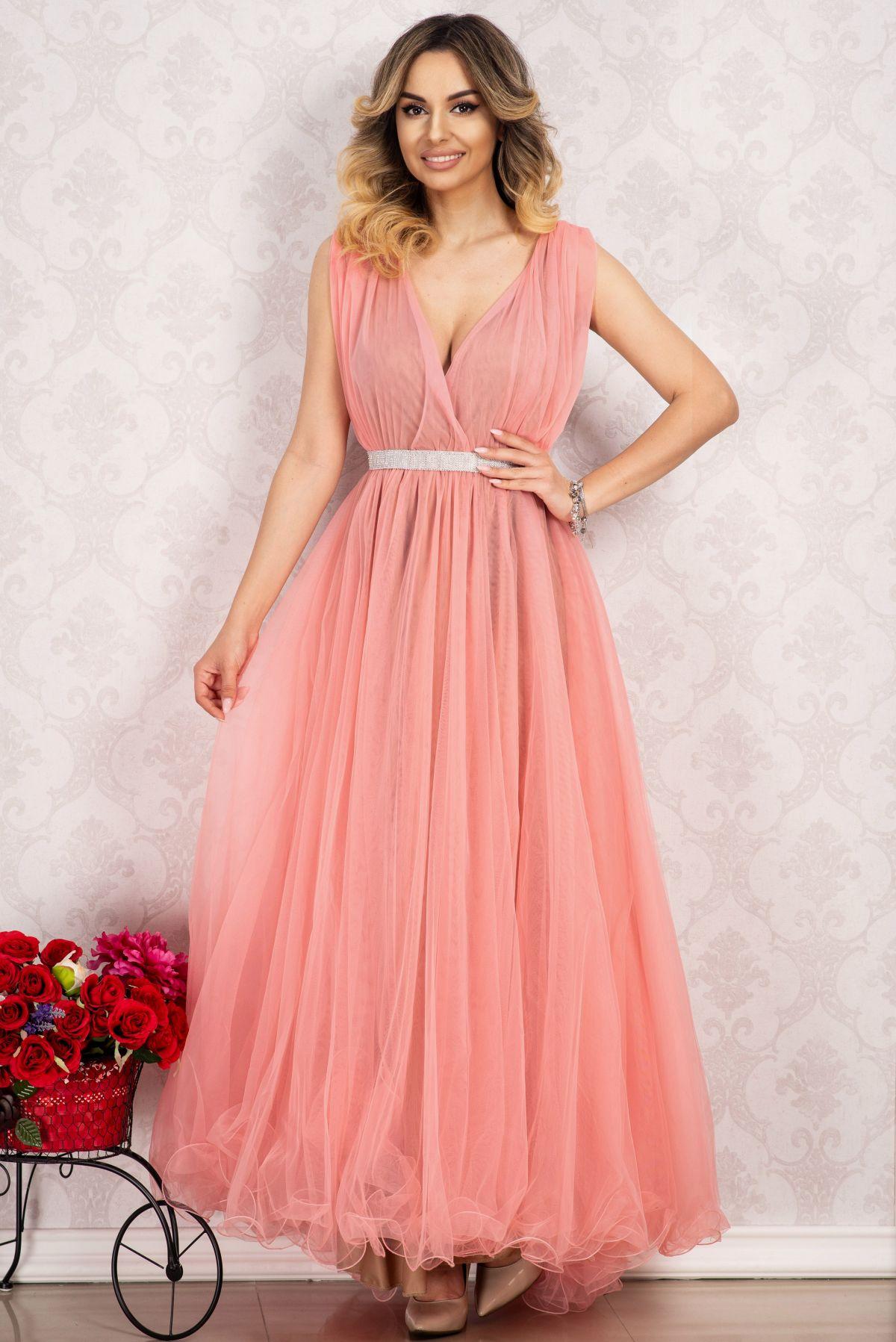 Rochie pentru domnisoara de onoare lunga roz din tulle By InPuff