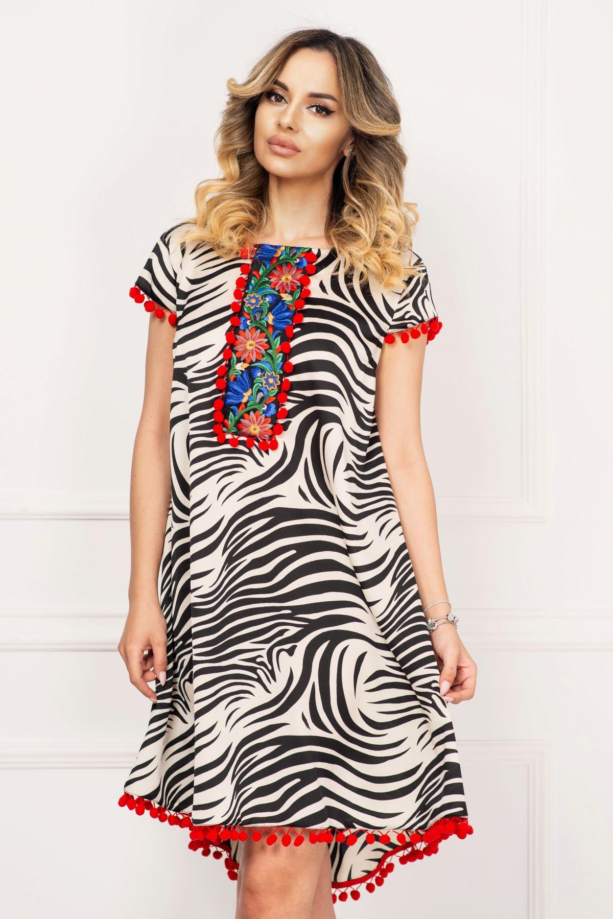 Rochie de zi Effect cu imprimeu zebra cu broderie si ciucuri