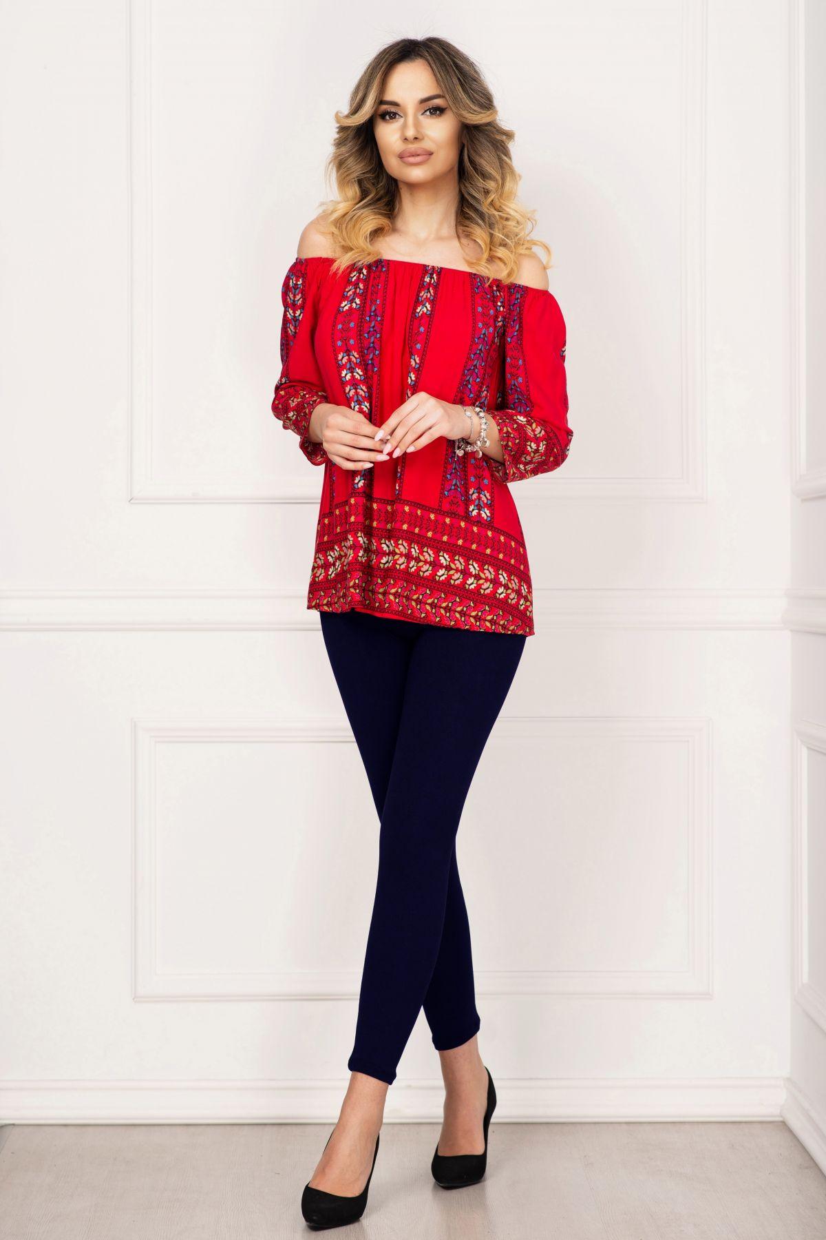 Compleu casual Melody cu bluza rosie si imprimeu folcloric By InPuff
