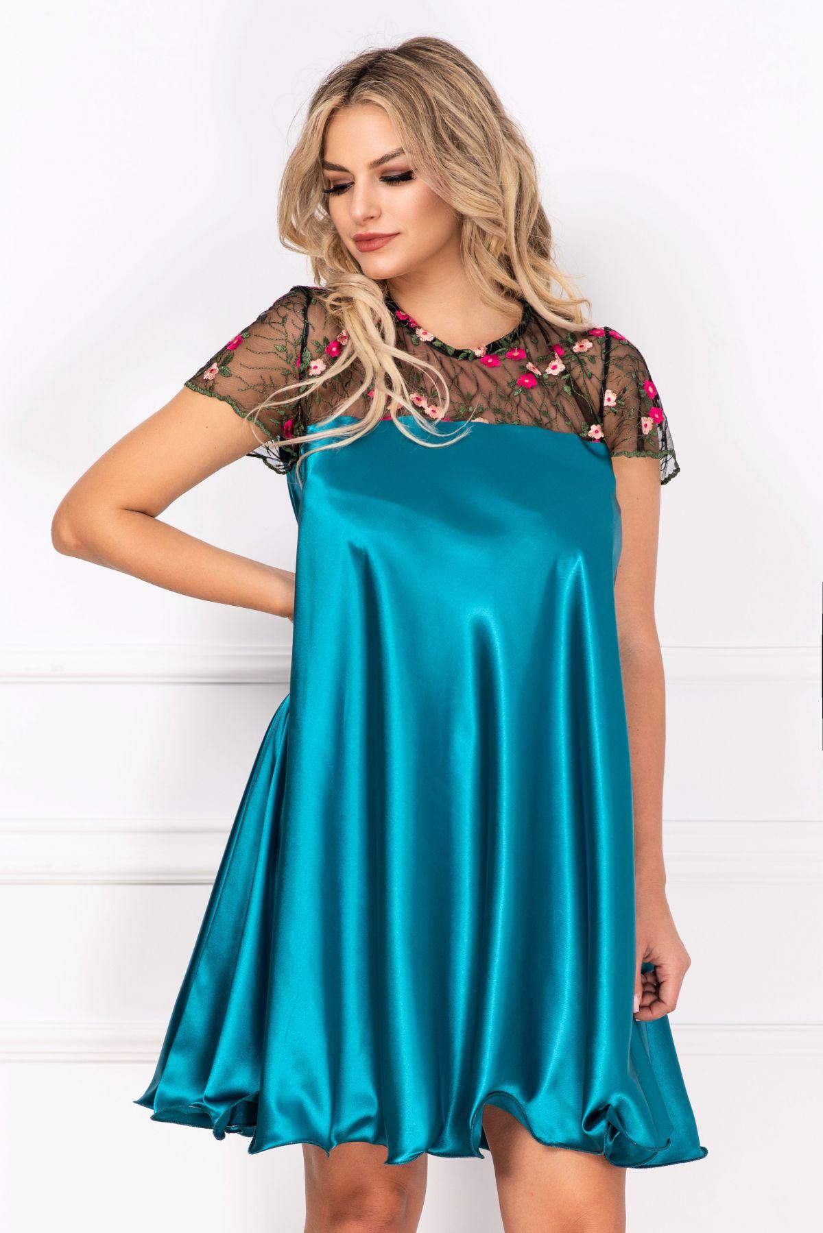 Rochie de cununie Erin turquoise din satin cu broderie By InPuff