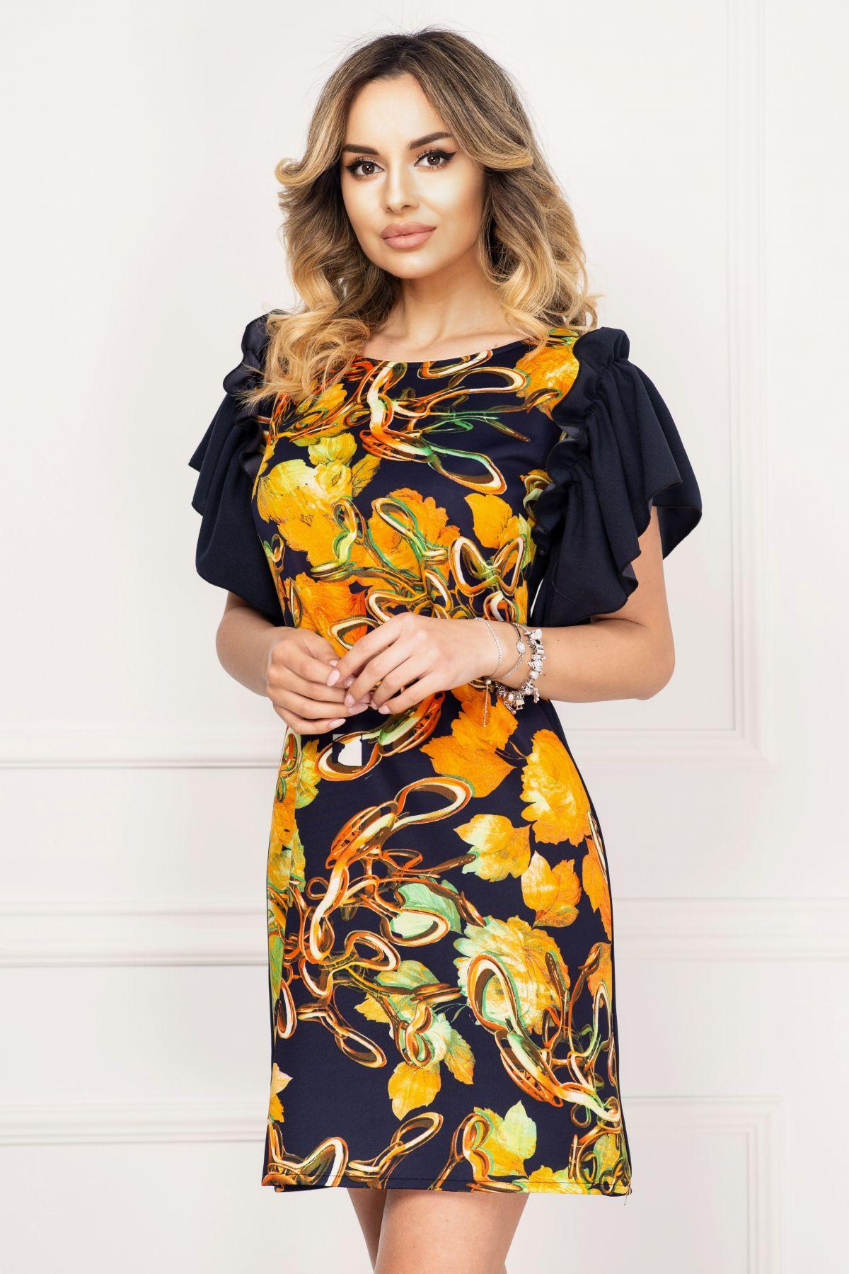 Rochie de zi Alexa bleumarin cu imprimeu floral orange image0