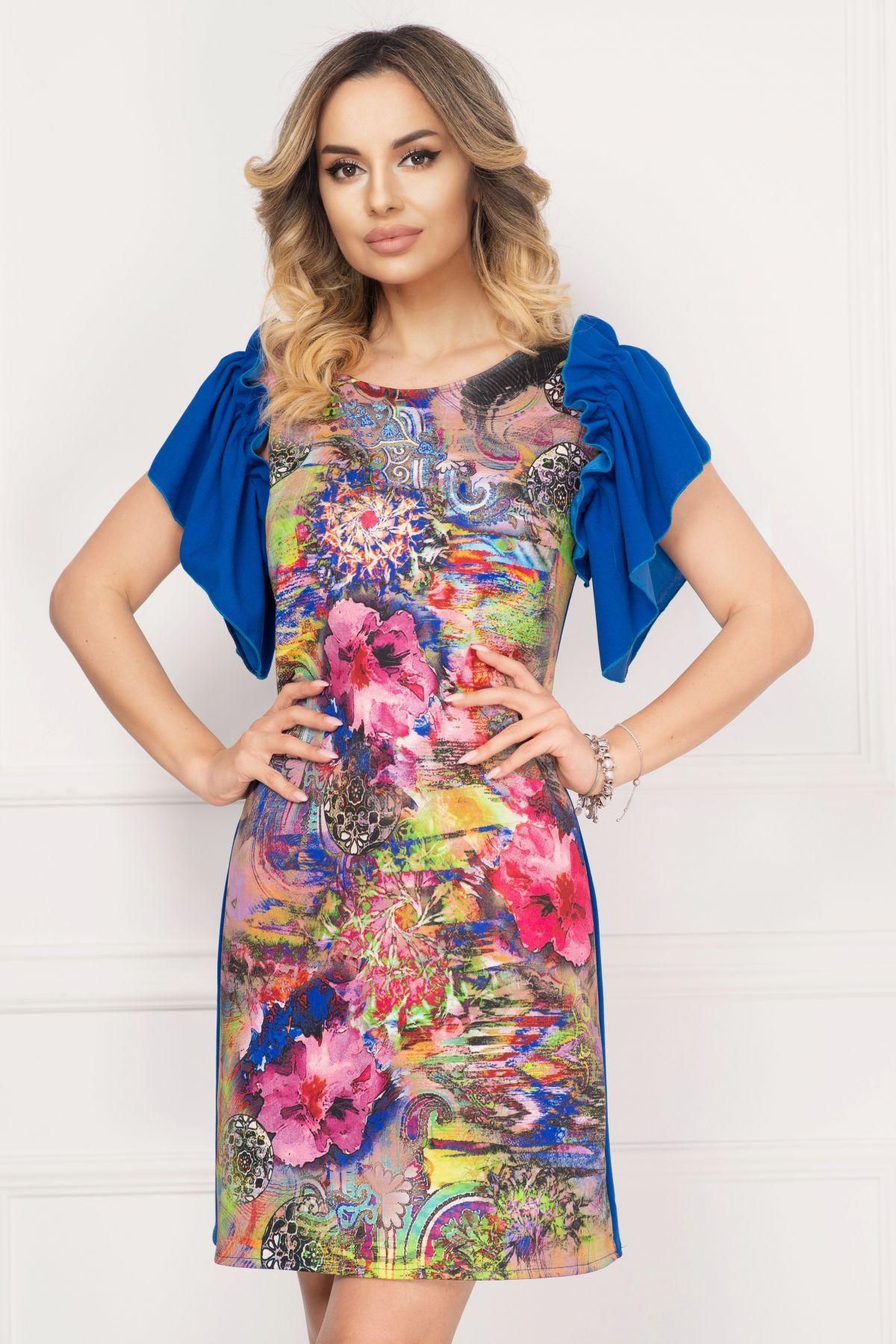Rochie de zi Alexa albastra cu imprimeu paisaj si maneci tip volanas