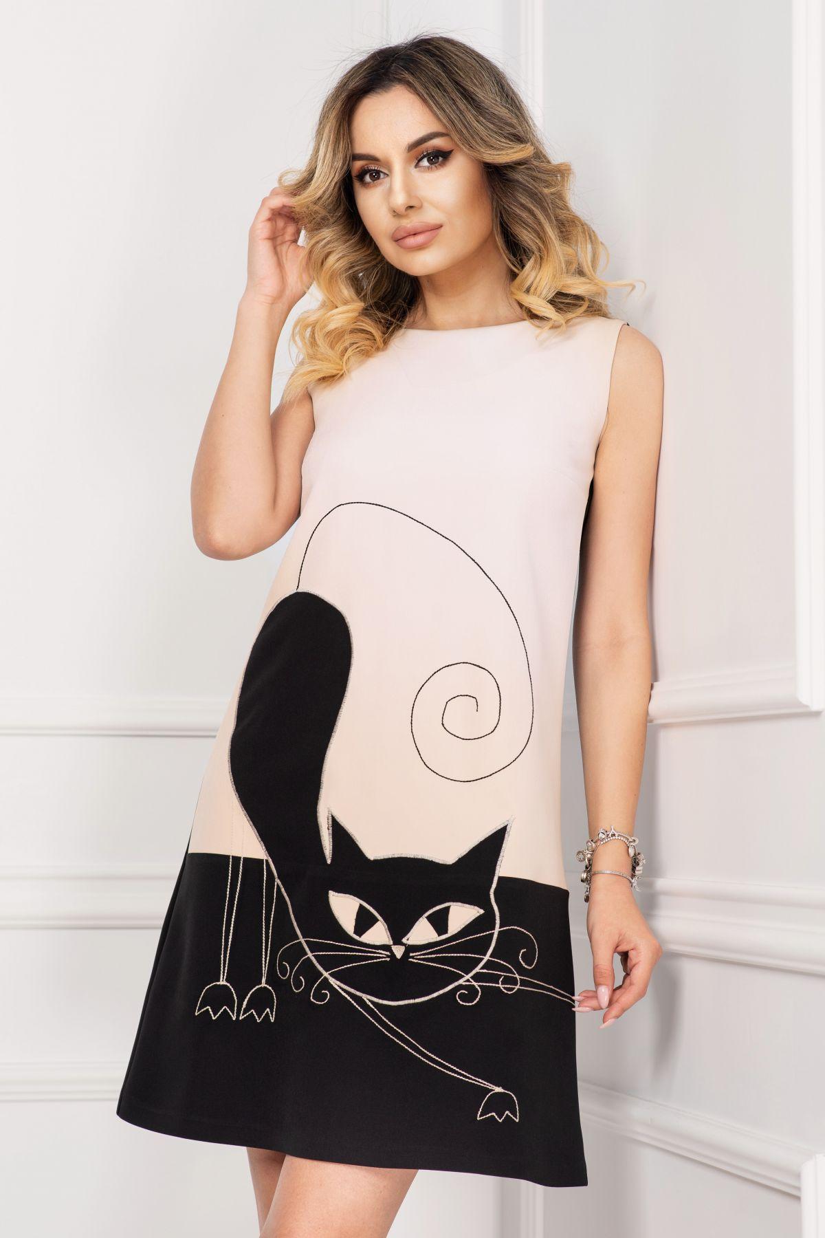 Rochie de zi Effect nude lejera cu imprimeu Black Cat