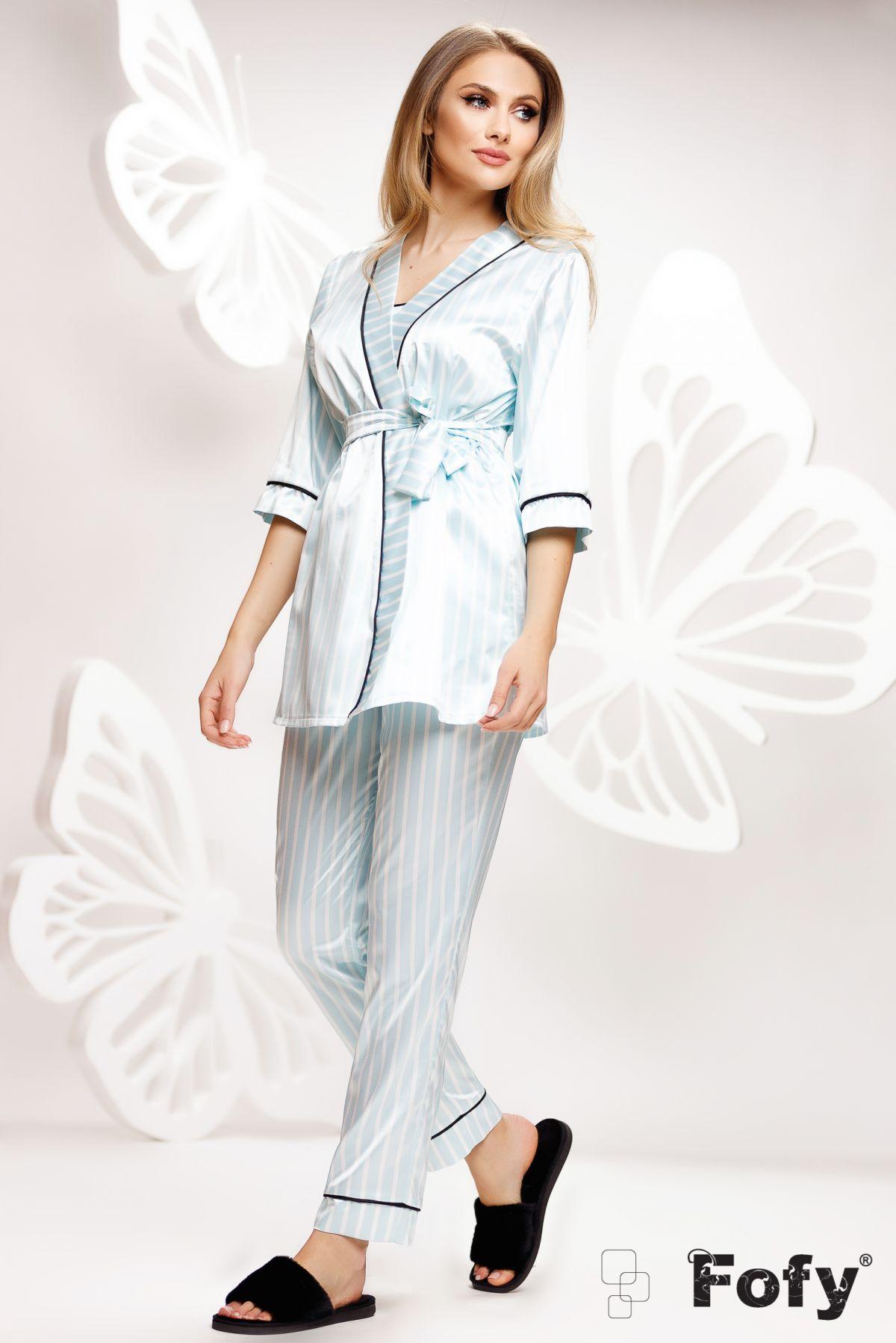 Pijama premium Fofy bleu din 3 piese cu dungi din satin