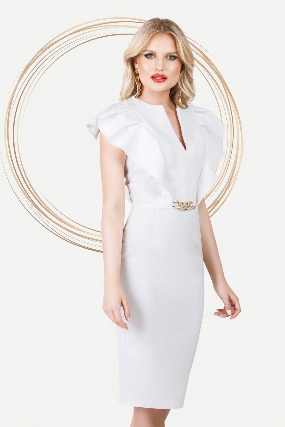 Rochie eleganta Pretty Girl ivoire cu volane aplicate la bust