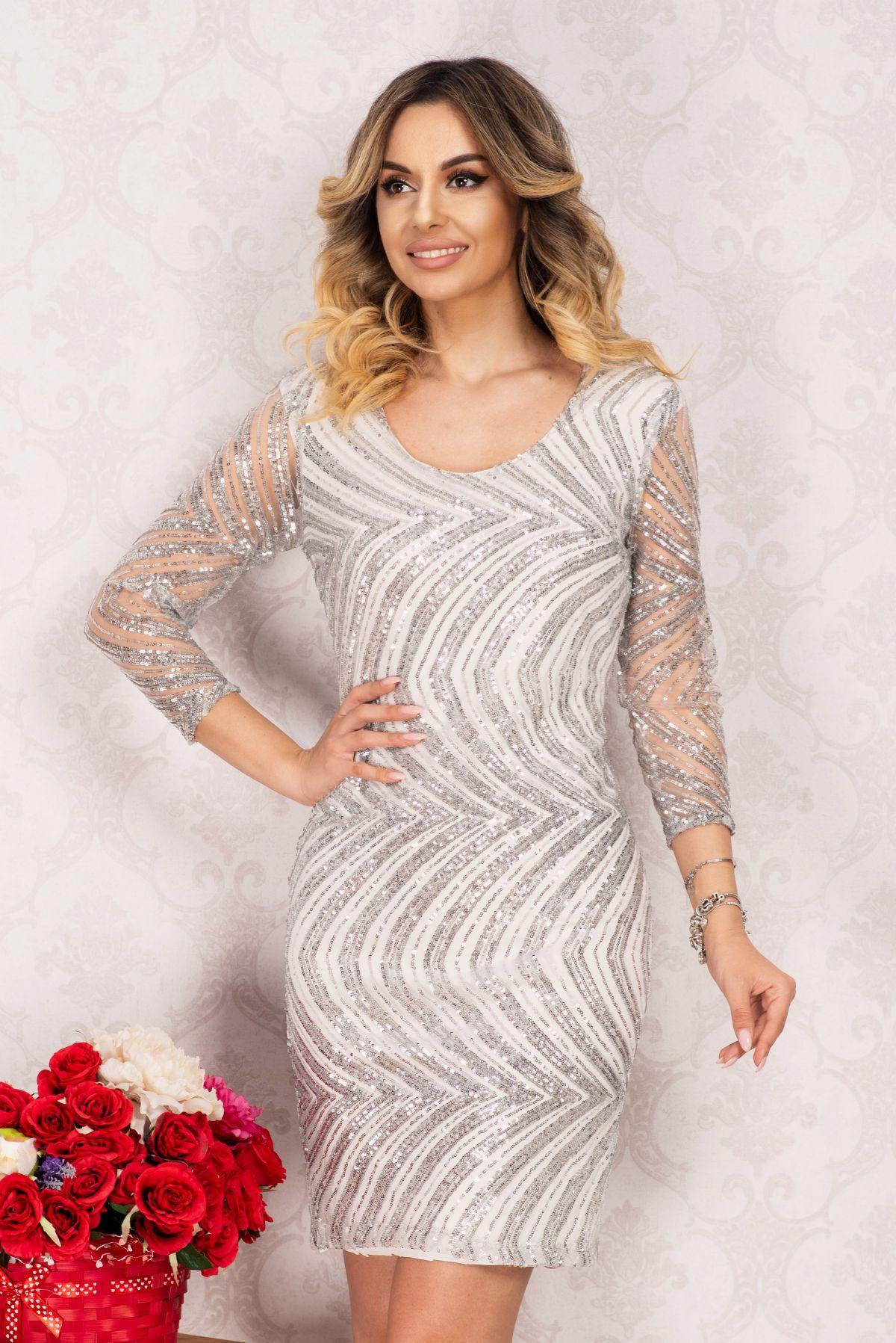 Rochie de ocazie eleganta Irene gri conica cu paiete argintii By InPuff