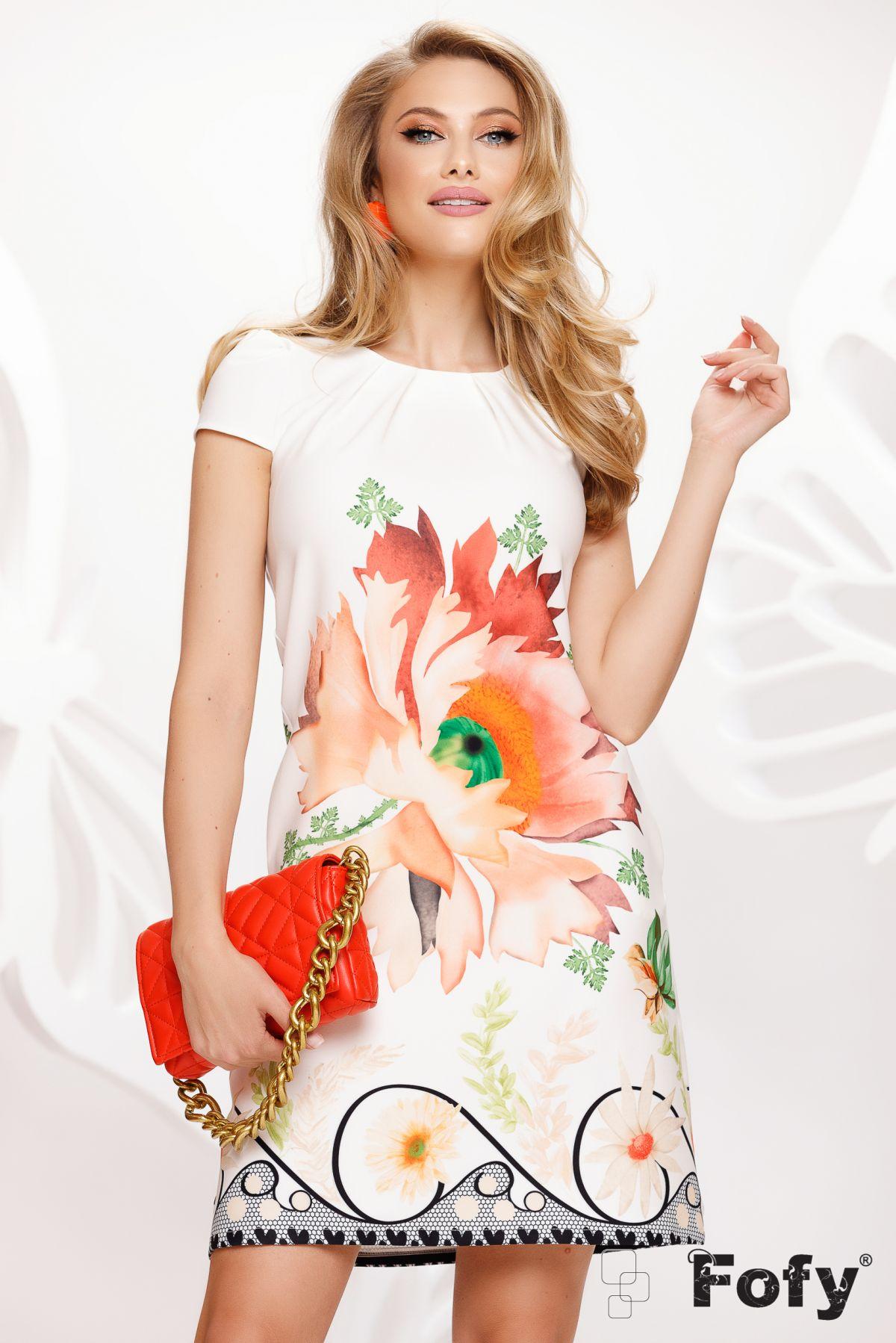 Rochie Fofy de vara ecru lejera cu imprimeu floare orange