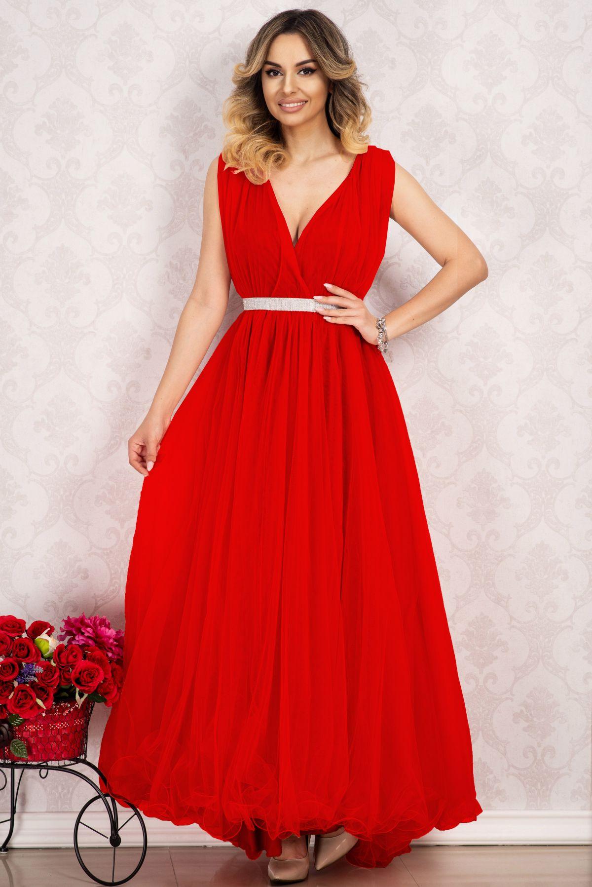Rochie pentru domnisoara de onoare lunga rosie din tulle By InPuff