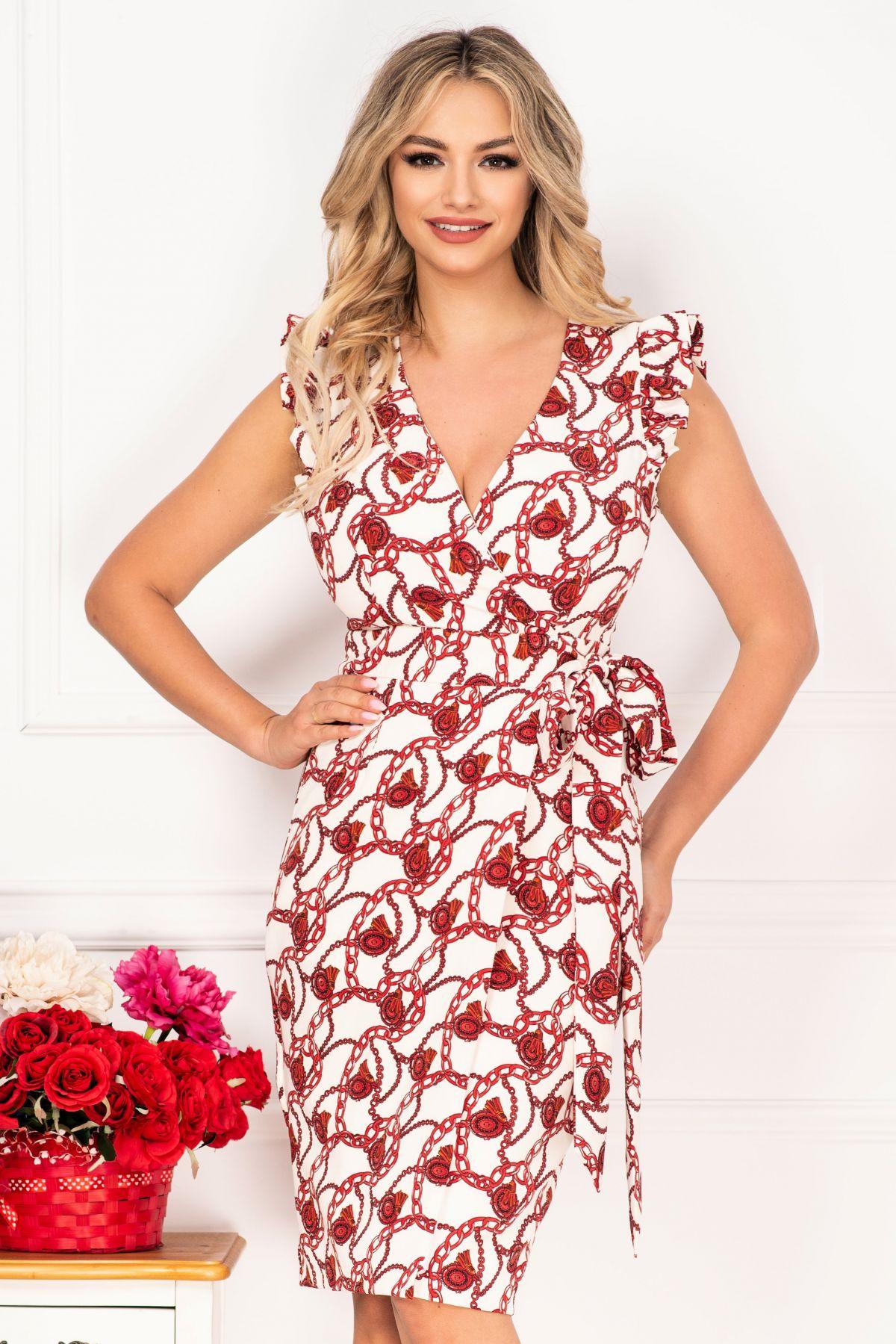 Rochie de zi petrecuta cu imprimeu rosu si volanase la umeri