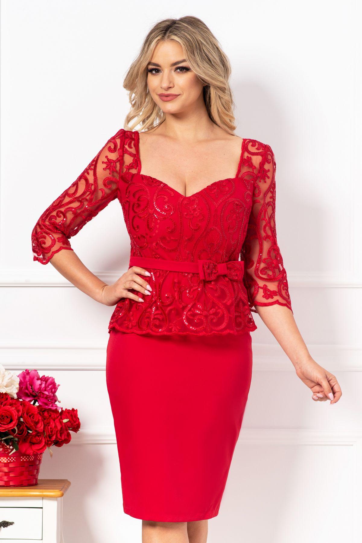 Rochie MBG conica de ocazie eleganta rosie cu broderie si paiete