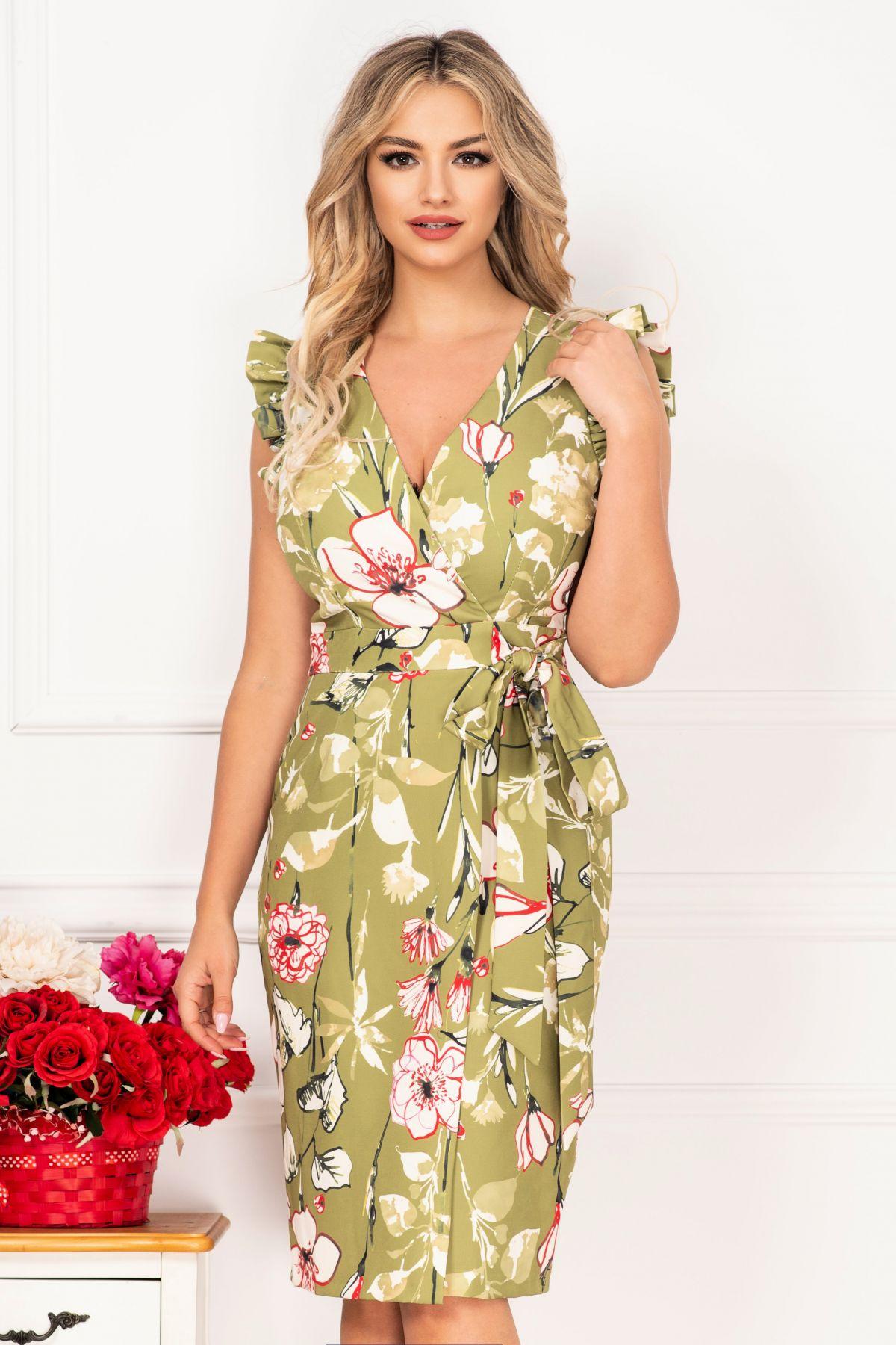 Rochie MBG de zi kaki petrecuta cu imprimeu floral