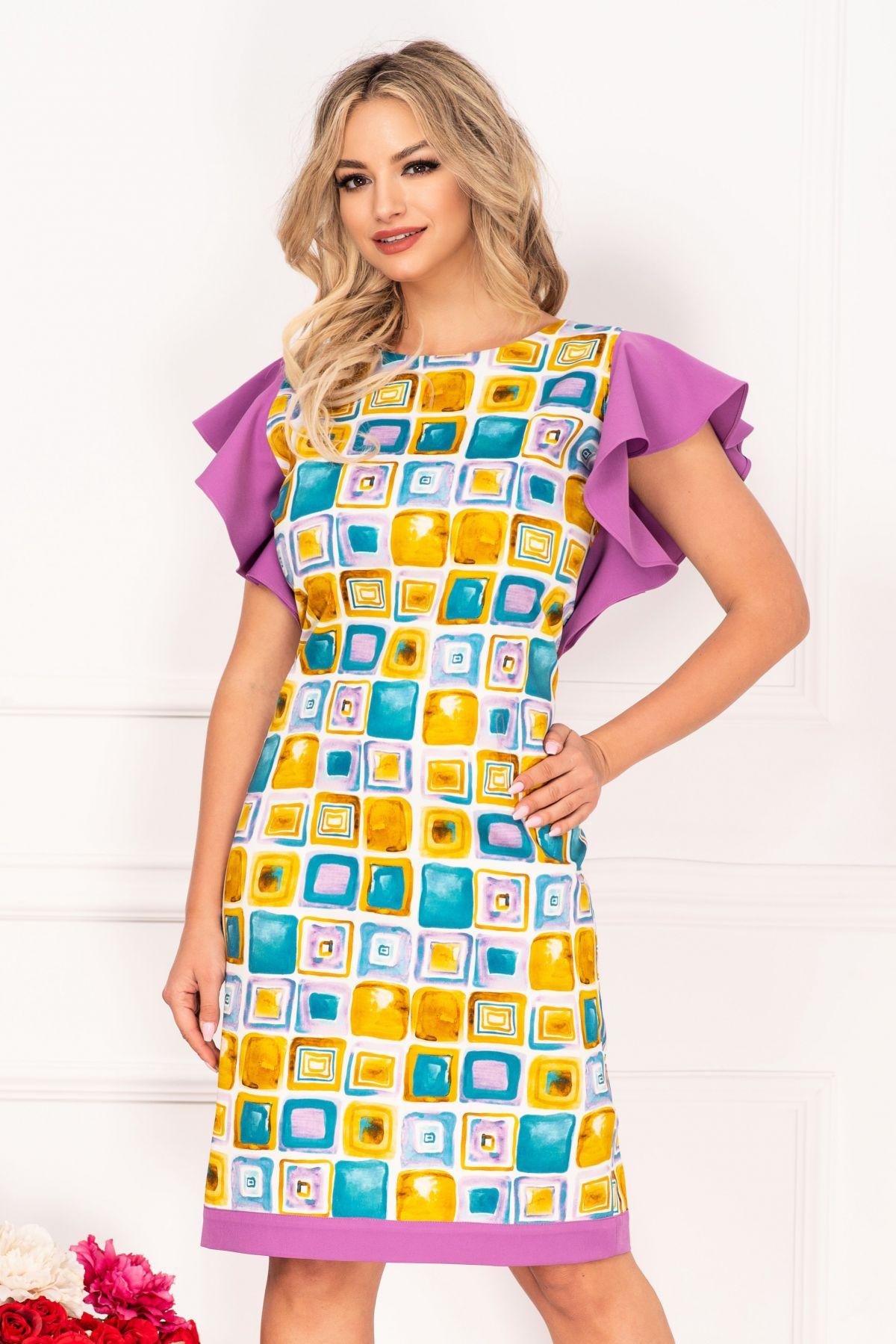 Rochie de zi InPuff cu imprimeu geometric tip pictura si volanase lila